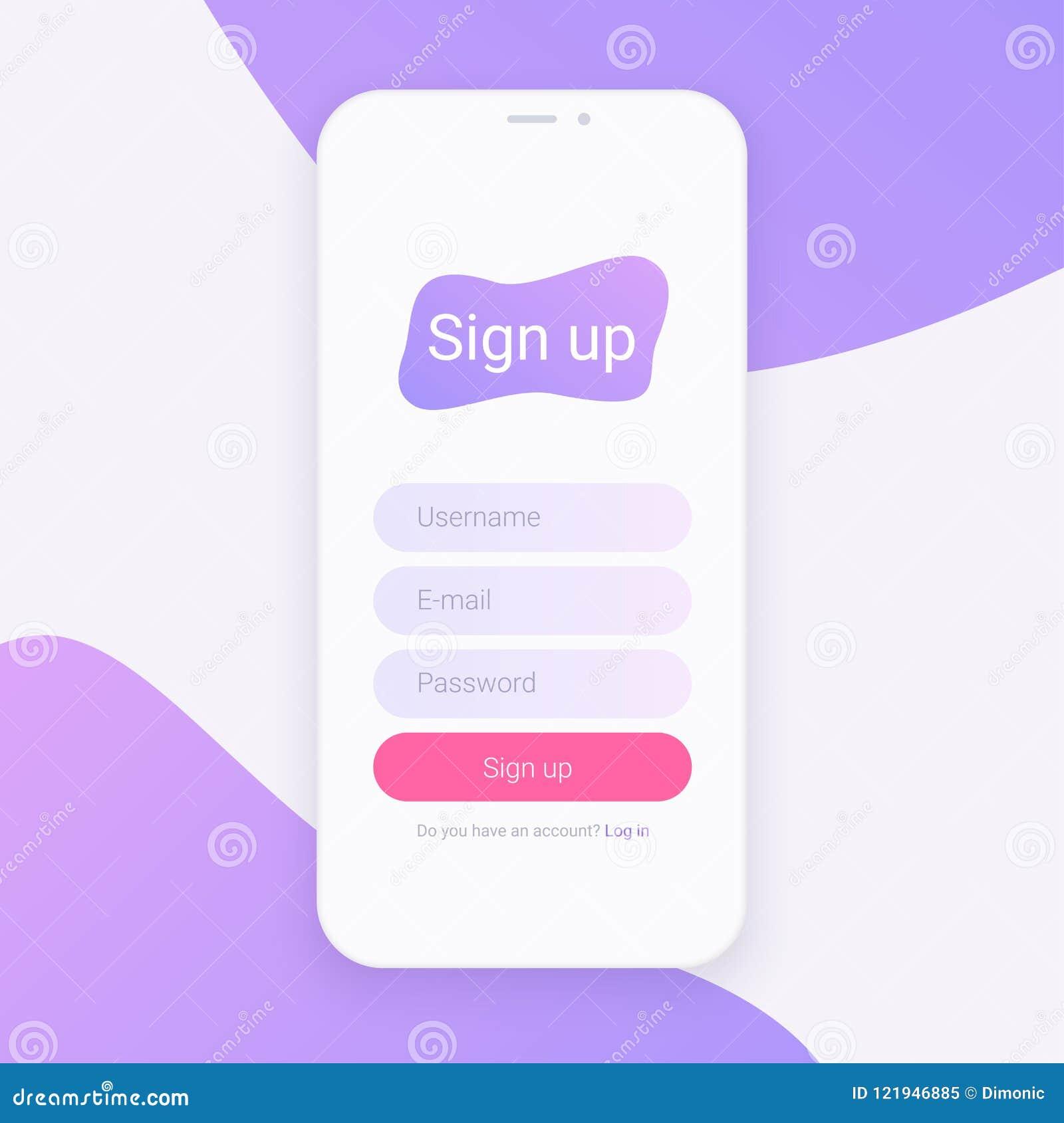 Σημάδι επάνω στην οθόνη Καθαρή κινητή έννοια σχεδίου UI Εφαρμογή με το παράθυρο αίτησης εγγραφής Καθιερώνουσες τη μόδα ολογραφικέ