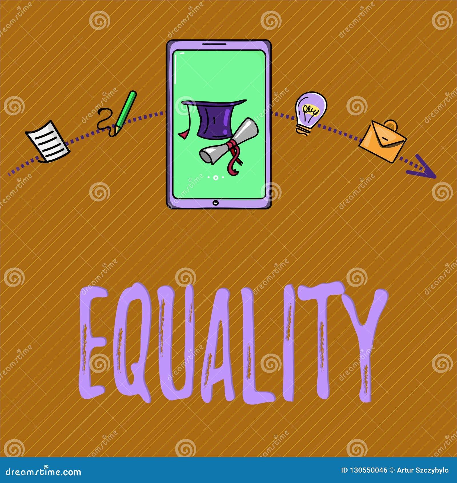 Σημάδι κειμένων που παρουσιάζει ισότητα Εννοιολογική κατάσταση φωτογραφιών της ύπαρξης ίσος ειδικά στα δικαιώματα ή τις ευκαιρίες