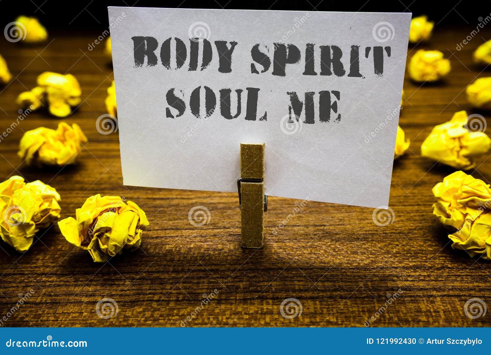 Σημάδι κειμένων που παρουσιάζει στην ψυχή πνευμάτων σώματος με Εννοιολογικό πιάσιμο άσπρο π Paperclip ψυχικών διαθέσεων συνείδηση