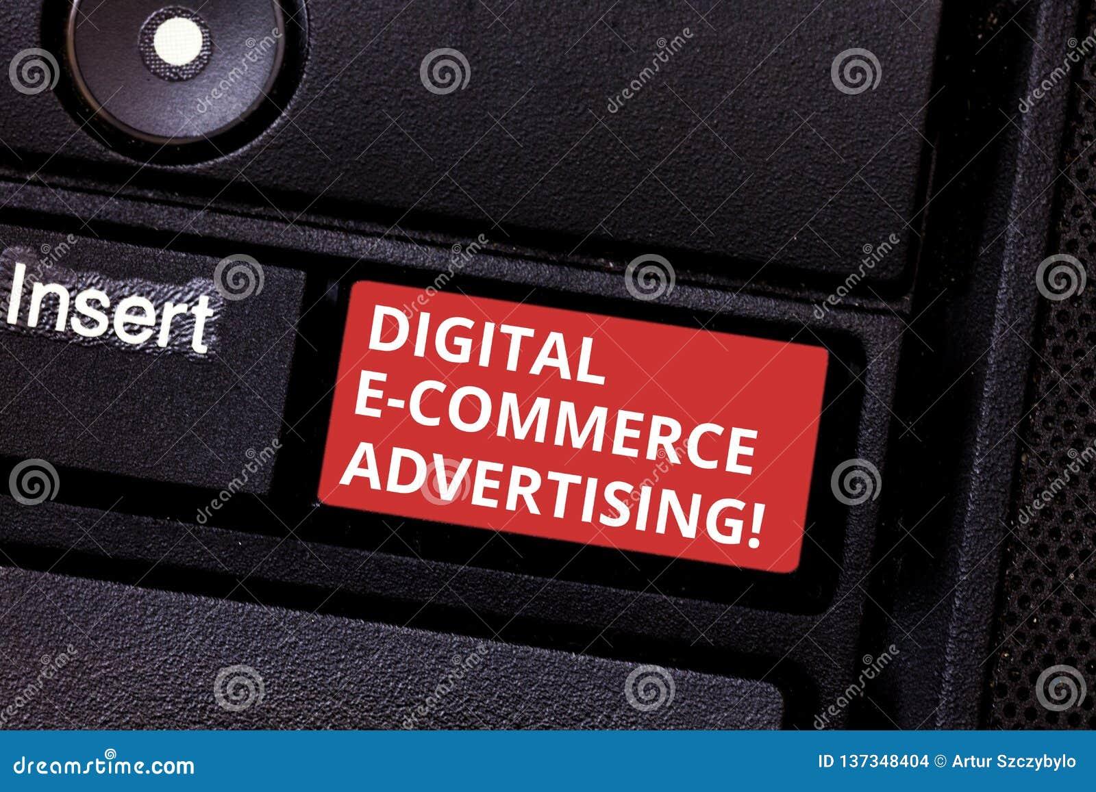 Σημάδι κειμένων που παρουσιάζει ψηφιακή διαφήμιση ηλεκτρονικού εμπορίου Εννοιολογικές εμπορικές συναλλαγές φωτογραφιών των αγαθών