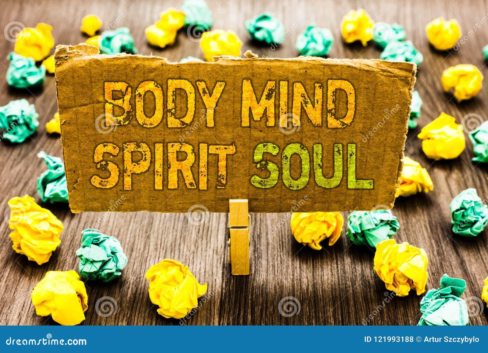 Σημάδι κειμένων που παρουσιάζει ψυχή πνευμάτων μυαλού σώματος Εννοιολογικό πιάσιμο Paperclip ψυχικών διαθέσεων συνείδησης θεραπεί
