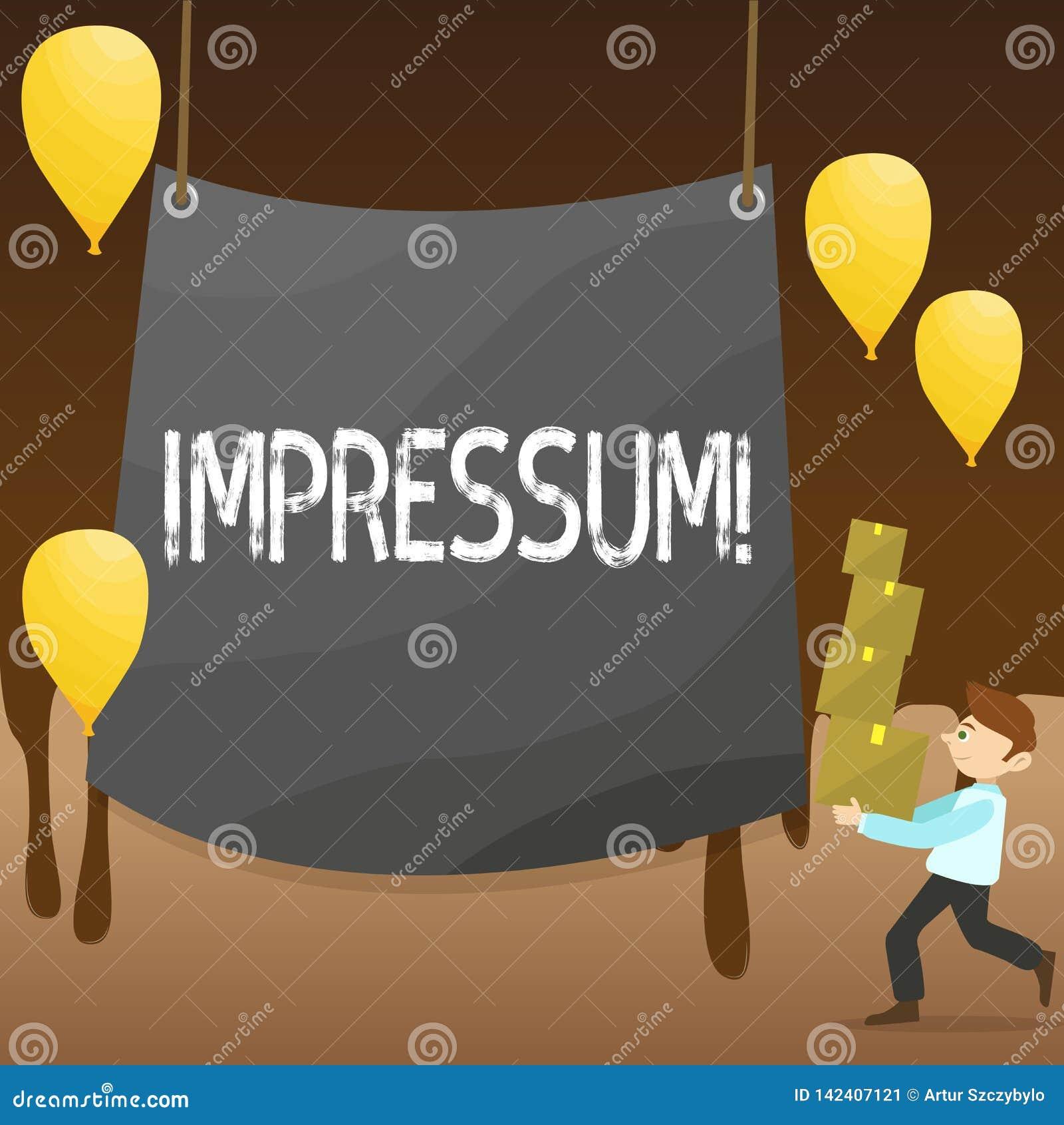 Σημάδι κειμένων που παρουσιάζει Impressum Η εννοιολογική φωτογραφία εντυπωσίασε το χαραγμένο άτομο συγγραφικού επαγγέλματος ιδιοκ