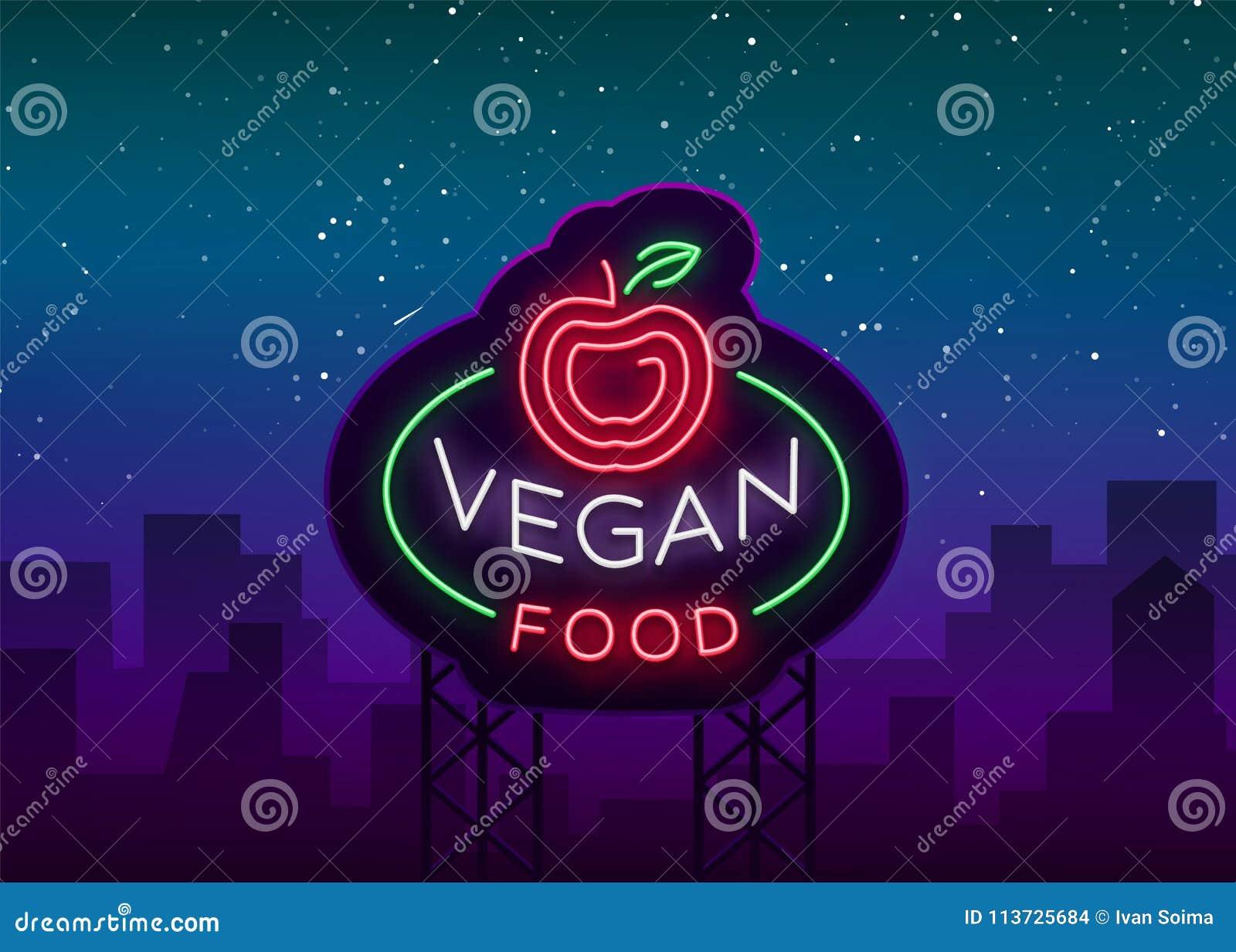 Σημάδι νέου λογότυπων Vegan, vegan σύμβολο, φωτεινό φωτεινό σημάδι, νύχτα νέου που διαφημίζει στο θέμα τα χορτοφάγα τρόφιμα, υγιή