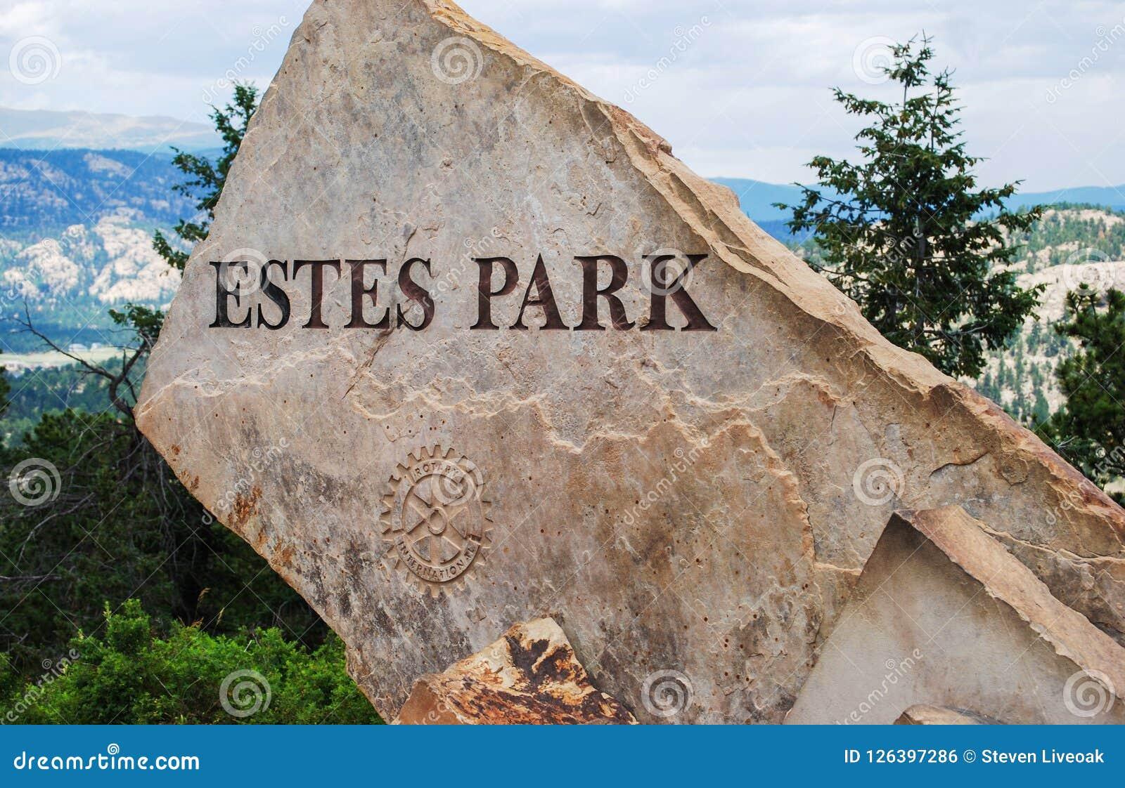 Σημάδι πάρκων Estes στο Κολοράντο, Ηνωμένες Πολιτείες της Αμερικής