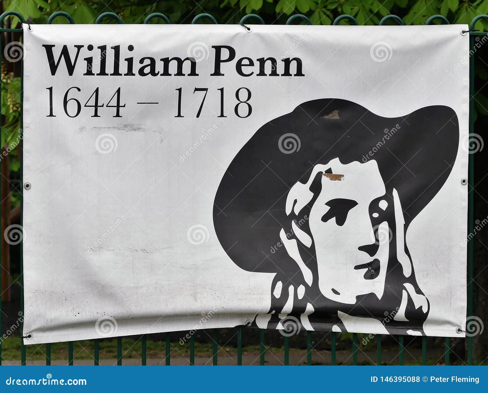 Σημάδι που τιμά την μνήμη της ζωής του William Penn, πρώτος κουάκερος, και ιδρυτής της αγγλικής βορειοαμερικανικής αποικίας η επα