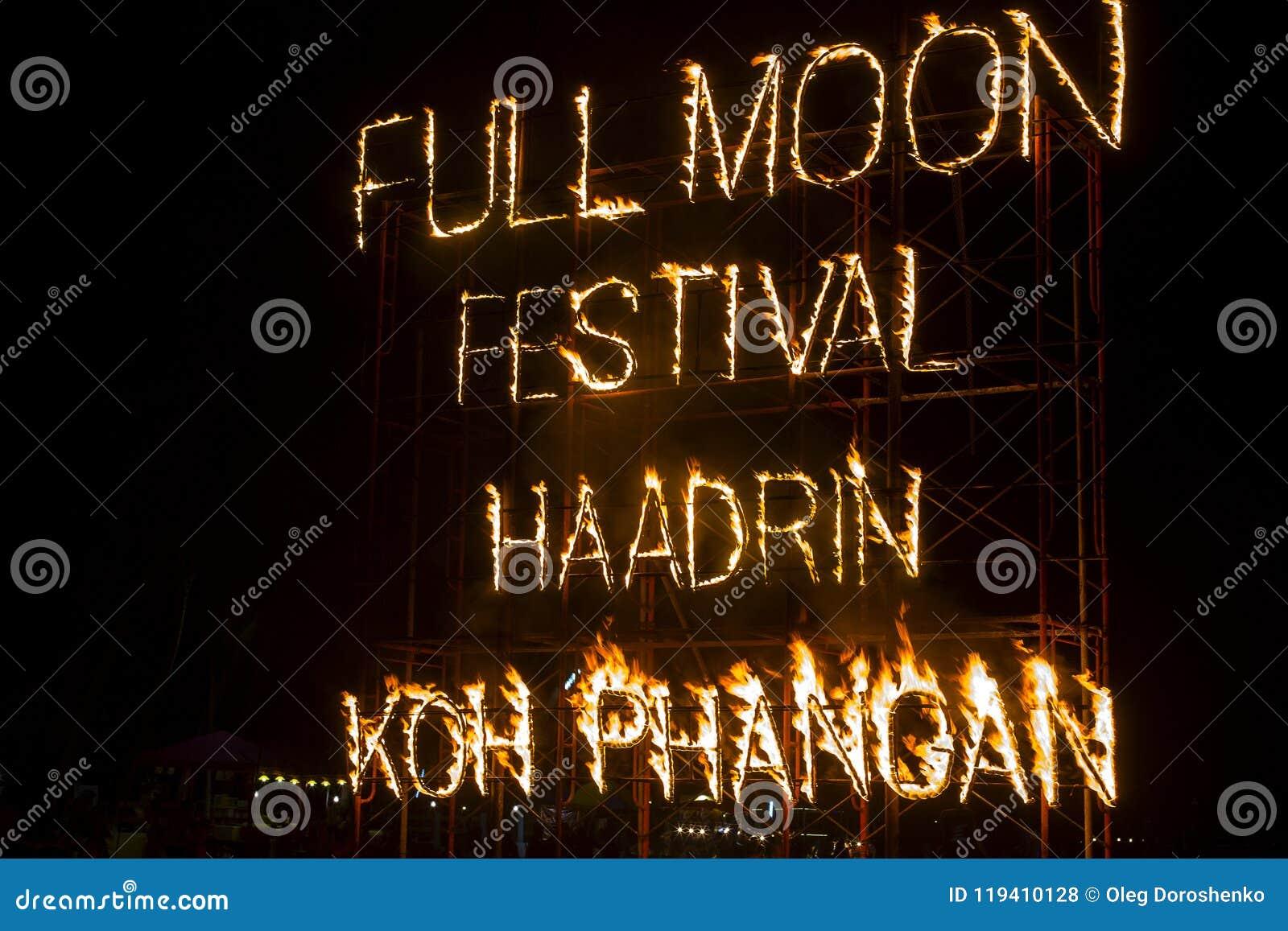 Σημάδι πυρκαγιάς κόμματος πανσελήνων στην παραλία Haad Rin Koh Phangan, Ταϊλάνδη νησιών
