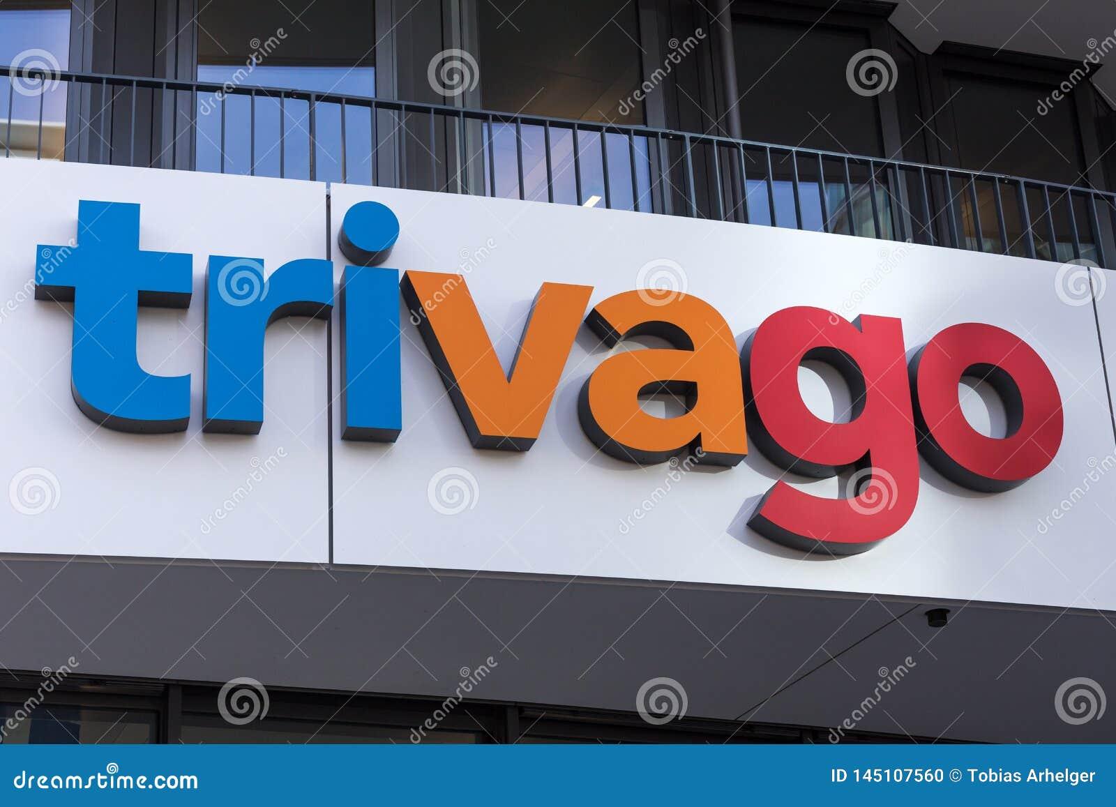 Σημάδι Trivago στο Ντίσελντορφ Γερμανία