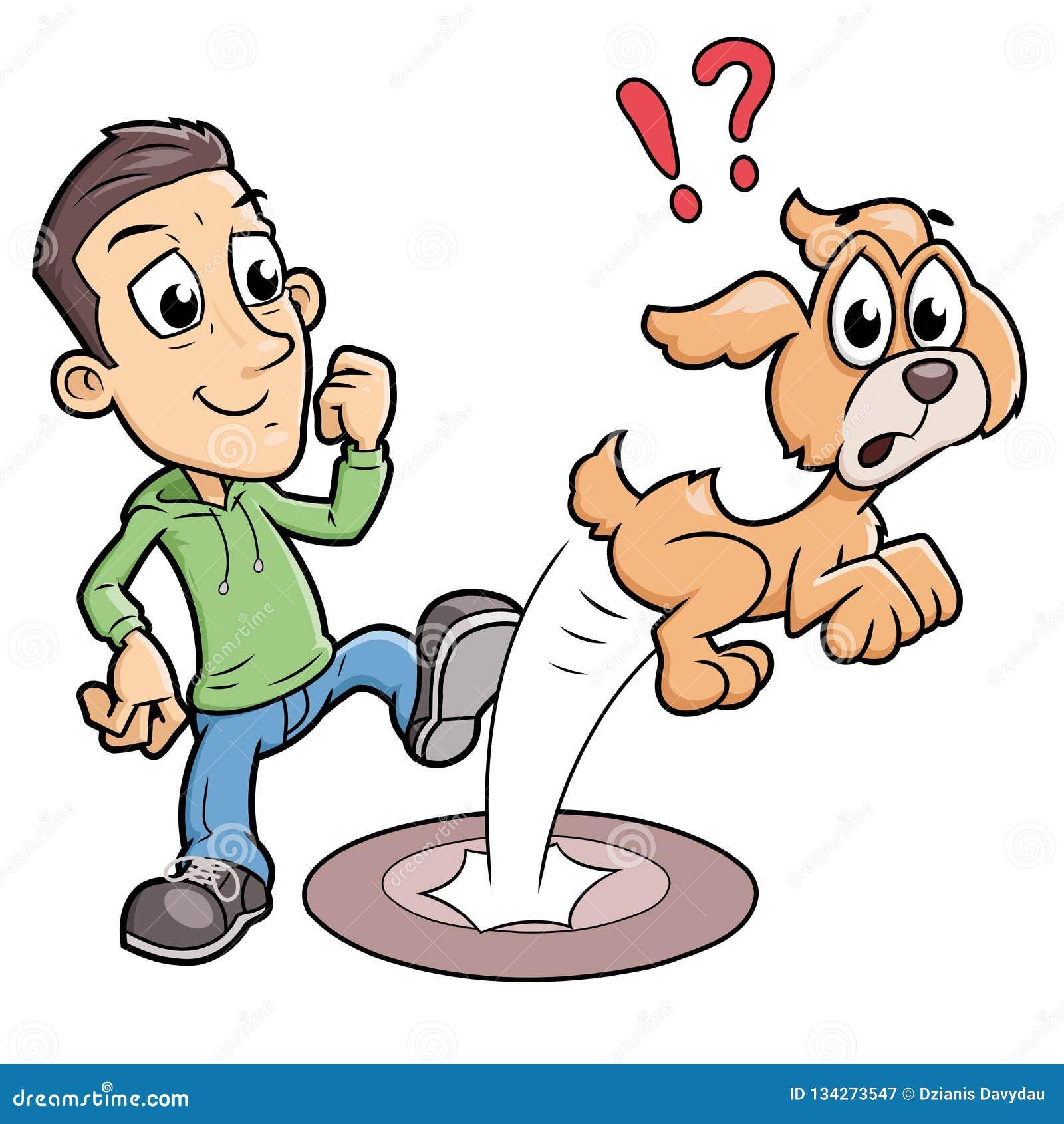 Σημάνετε το αγόρι που κλωτσά ένα σκυλί