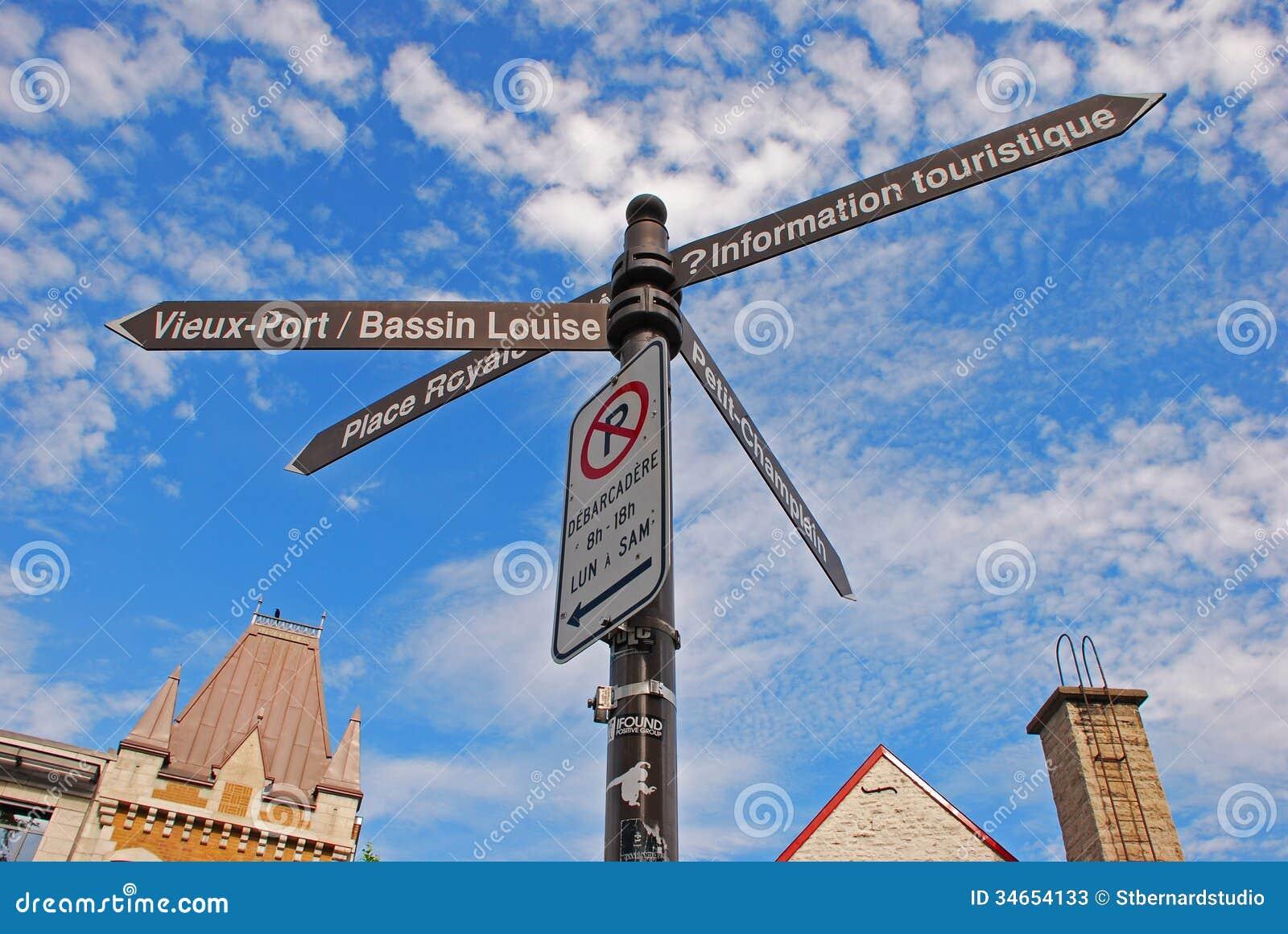 Σημάδια προορισμού για τέσσερις κατευθύνσεις στην παλαιά κωμόπολη πόλεων του Κεμπέκ