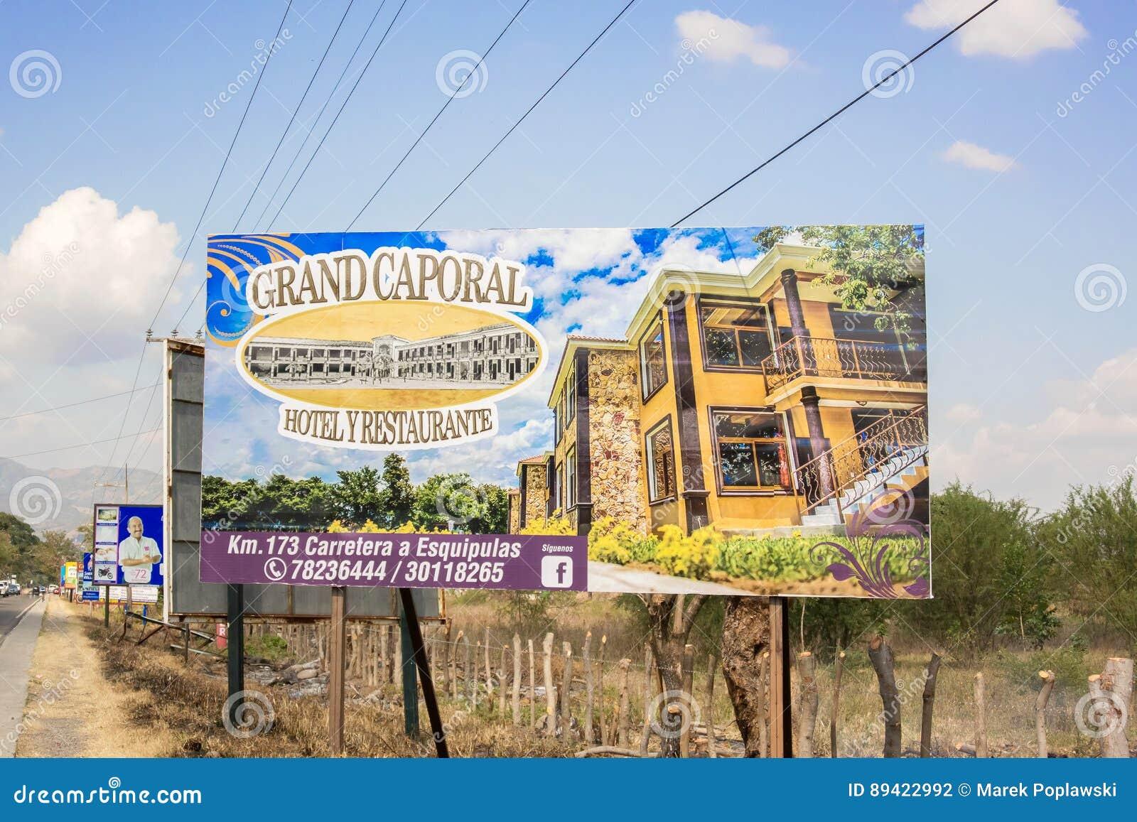 Σημάδι για το μεγάλο ξενοδοχείο Caporal στη Γουατεμάλα