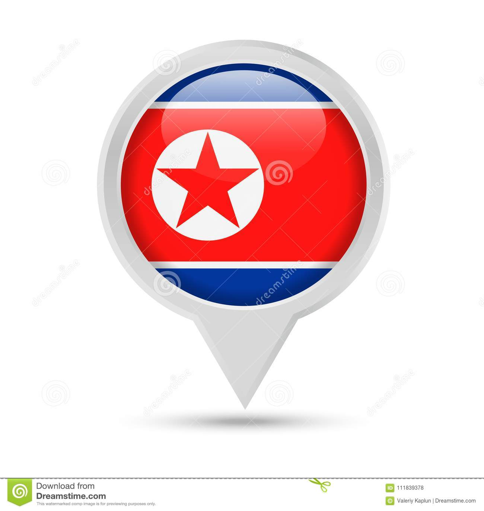 Σημαία Βόρεια Κορεών γύρω από το διανυσματικό εικονίδιο καρφιτσών