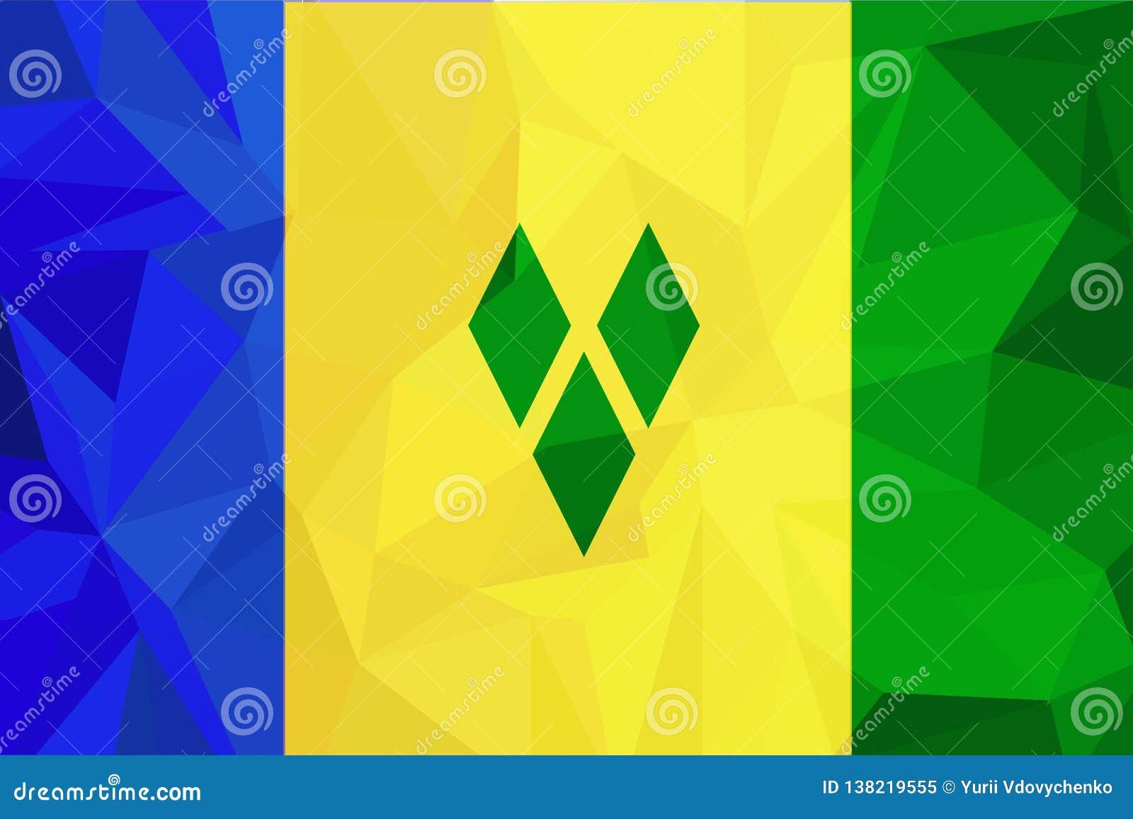 σημαία Γρεναδίνες Άγιος vinc διάνυσμα Ακριβείς διαστάσεις, αναλογίες στοιχείων και χρώματα