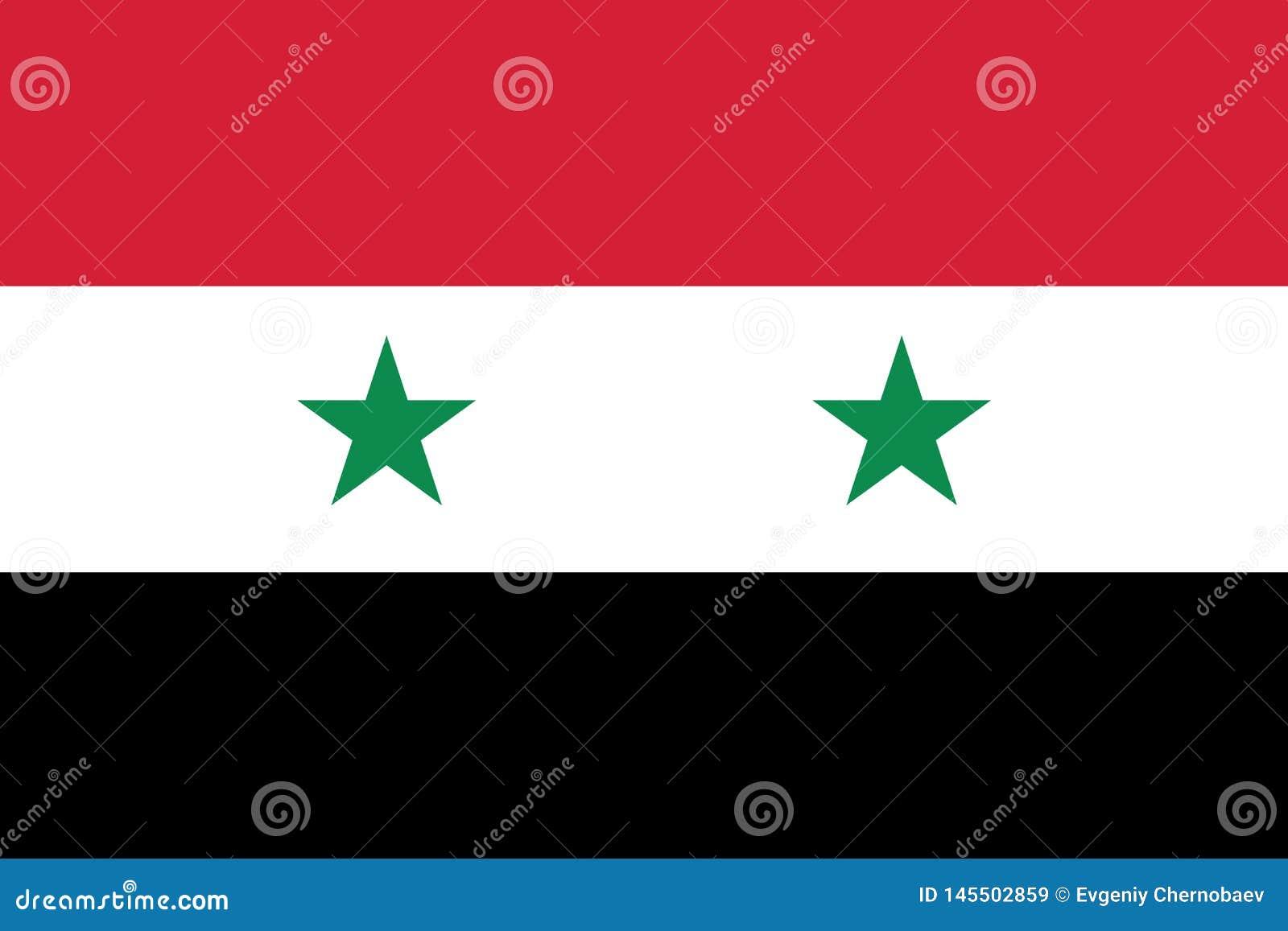 Σημαία διανυσματικό eps10 της Συρίας Συριακή σημαία με δύο αστέρια Σημάδι σημαιών της Συρίας