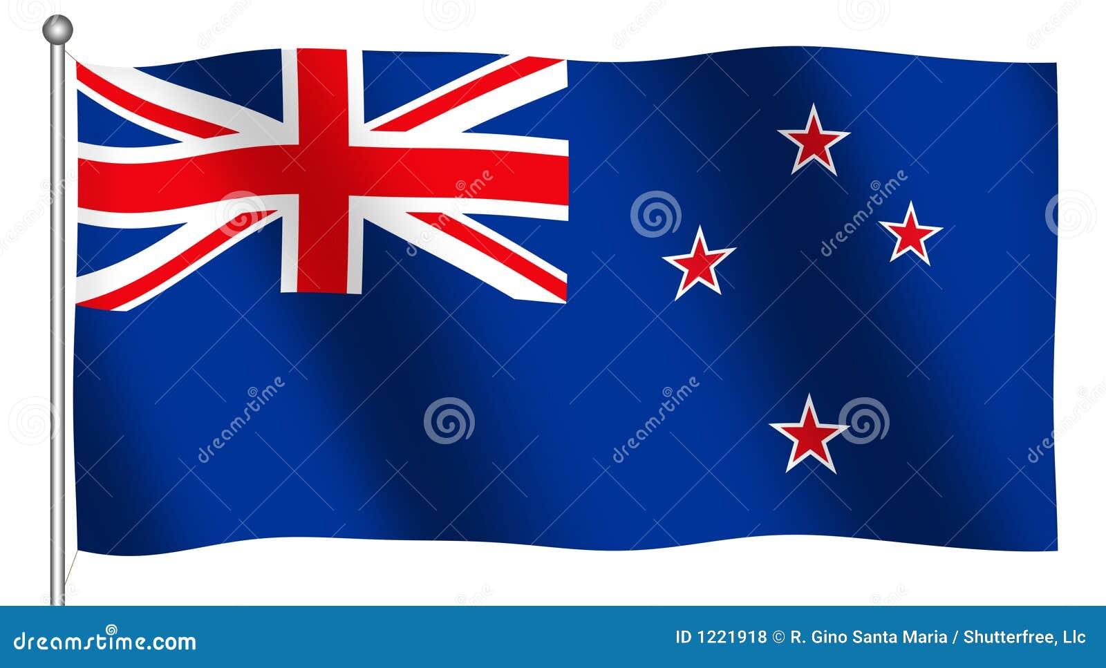 σημαία νέα κυματίζοντας Ζηλανδία
