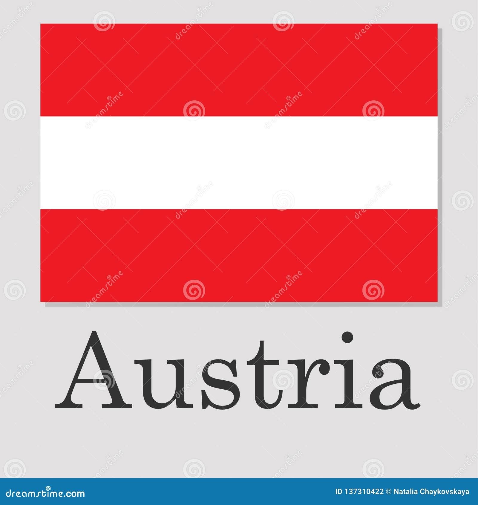 Σημαία της Αυστρίας που απομονώνεται στο γκρίζο υπόβαθρο