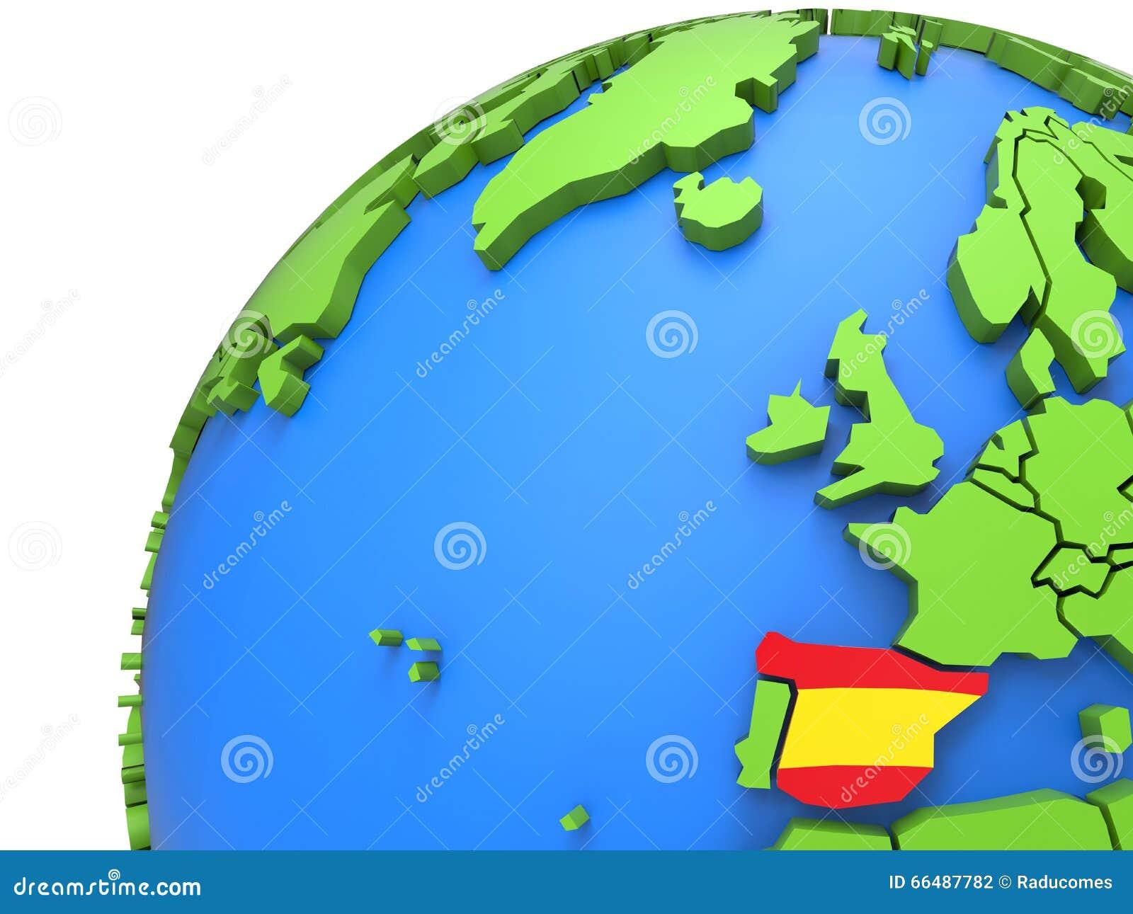 Σημαία της Ισπανίας σε όλη την τρισδιάστατη γήινη υδρόγειο