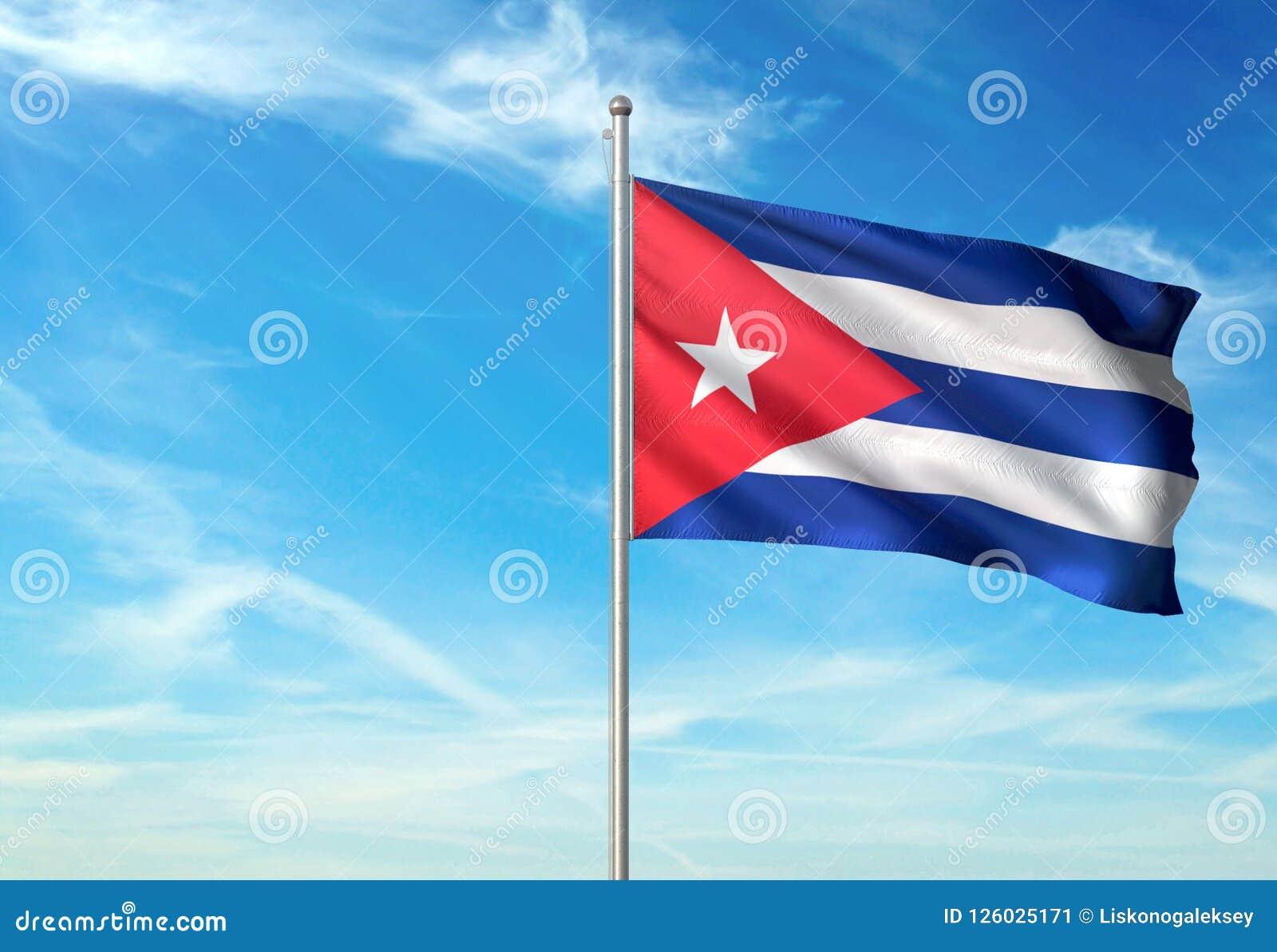 Σημαία της Κούβας που κυματίζει με τον ουρανό στη ρεαλιστική τρισδιάστατη απεικόνιση υποβάθρου