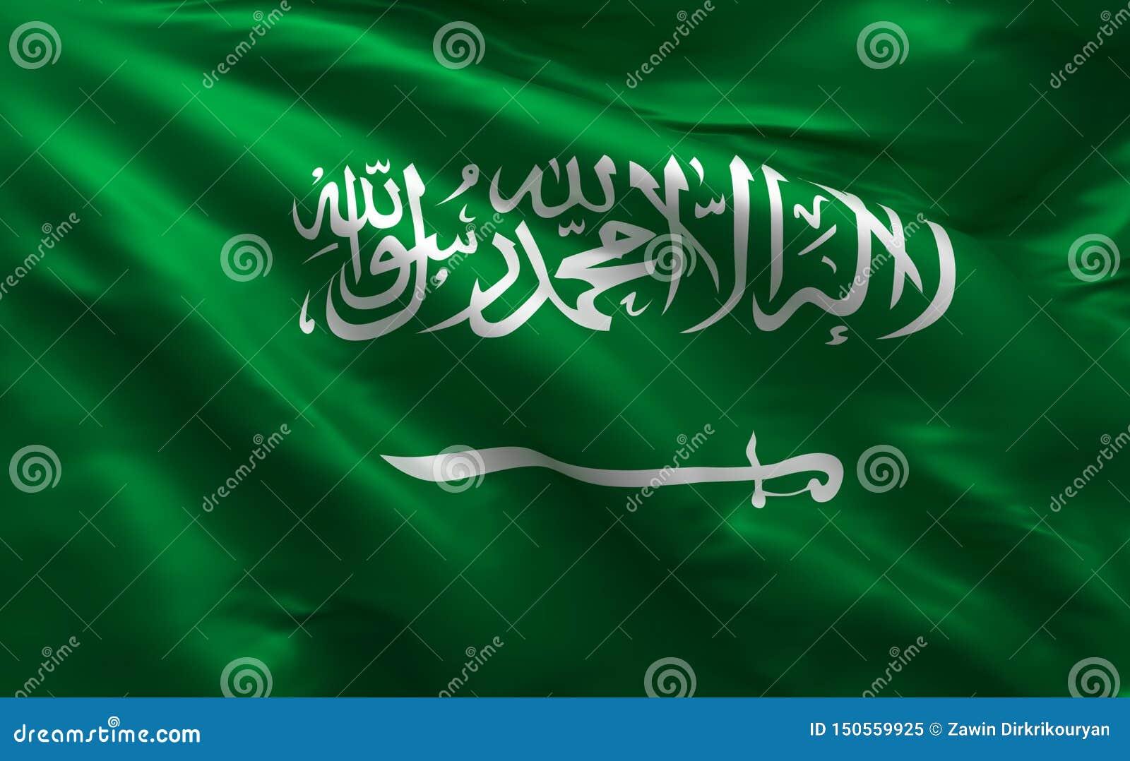 Σημαία της Σαουδικής Αραβίας, σαουδικό υλικό υπόβαθρο μεταξιού, τρισδιάστατη απόδοση