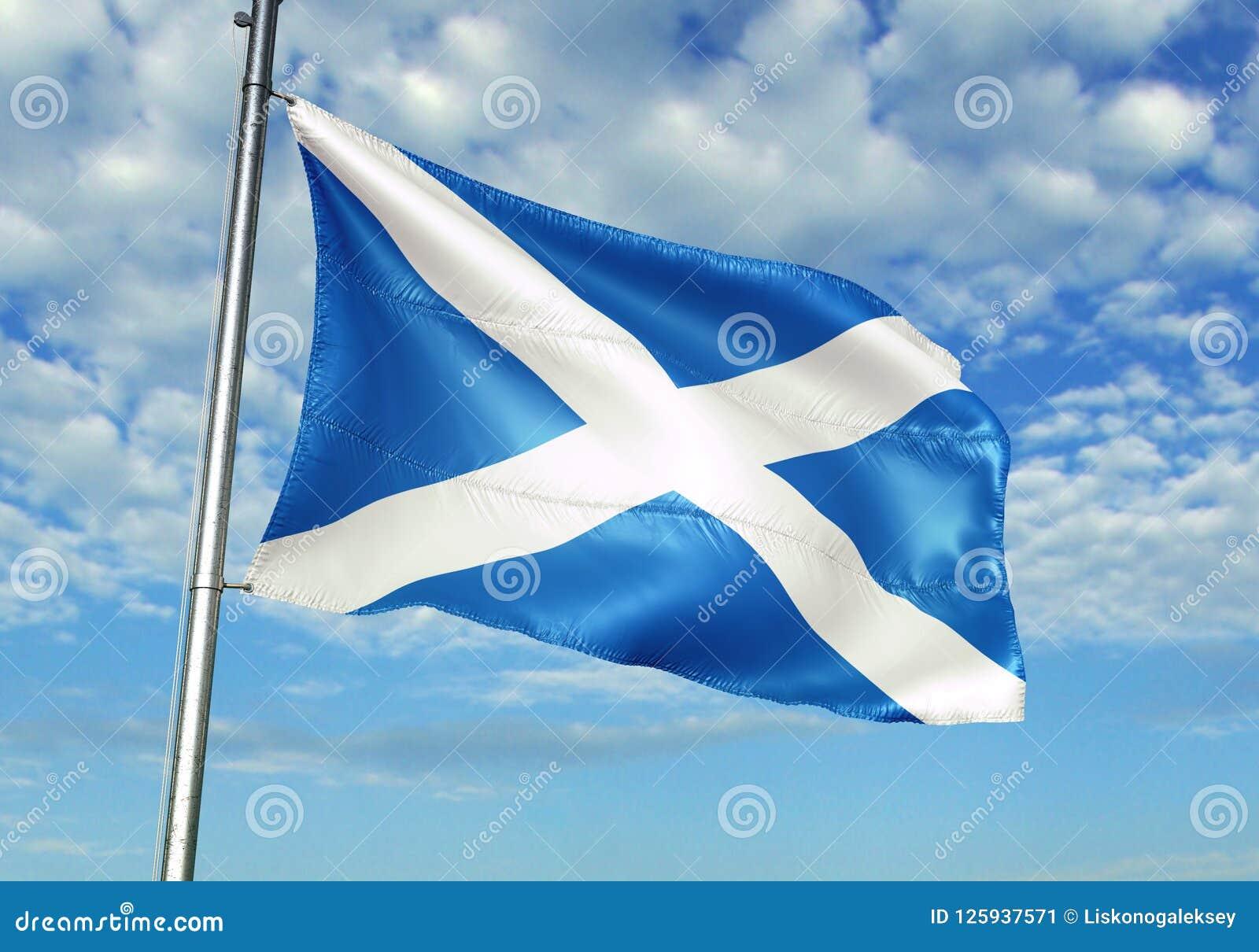 Σημαία της Σκωτίας που κυματίζει με τον ουρανό στη ρεαλιστική τρισδιάστατη απεικόνιση υποβάθρου