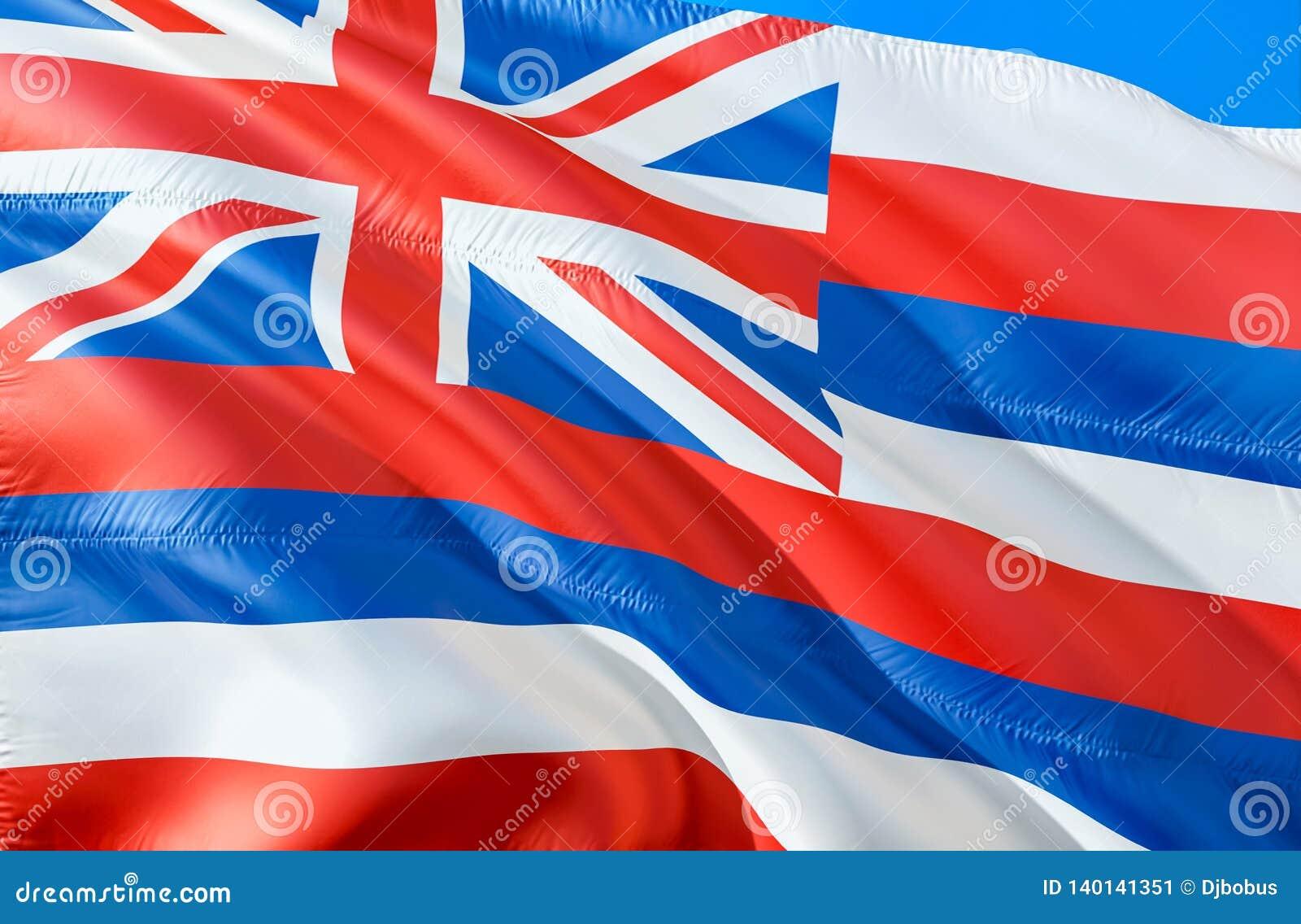 Σημαία της Χαβάης τρισδιάστατο σχέδιο κρατικών σημαιών κυματισμού ΗΠΑ Το εθνικό αμερικανικό σύμβολο του κράτους της Χαβάης, τρισδ