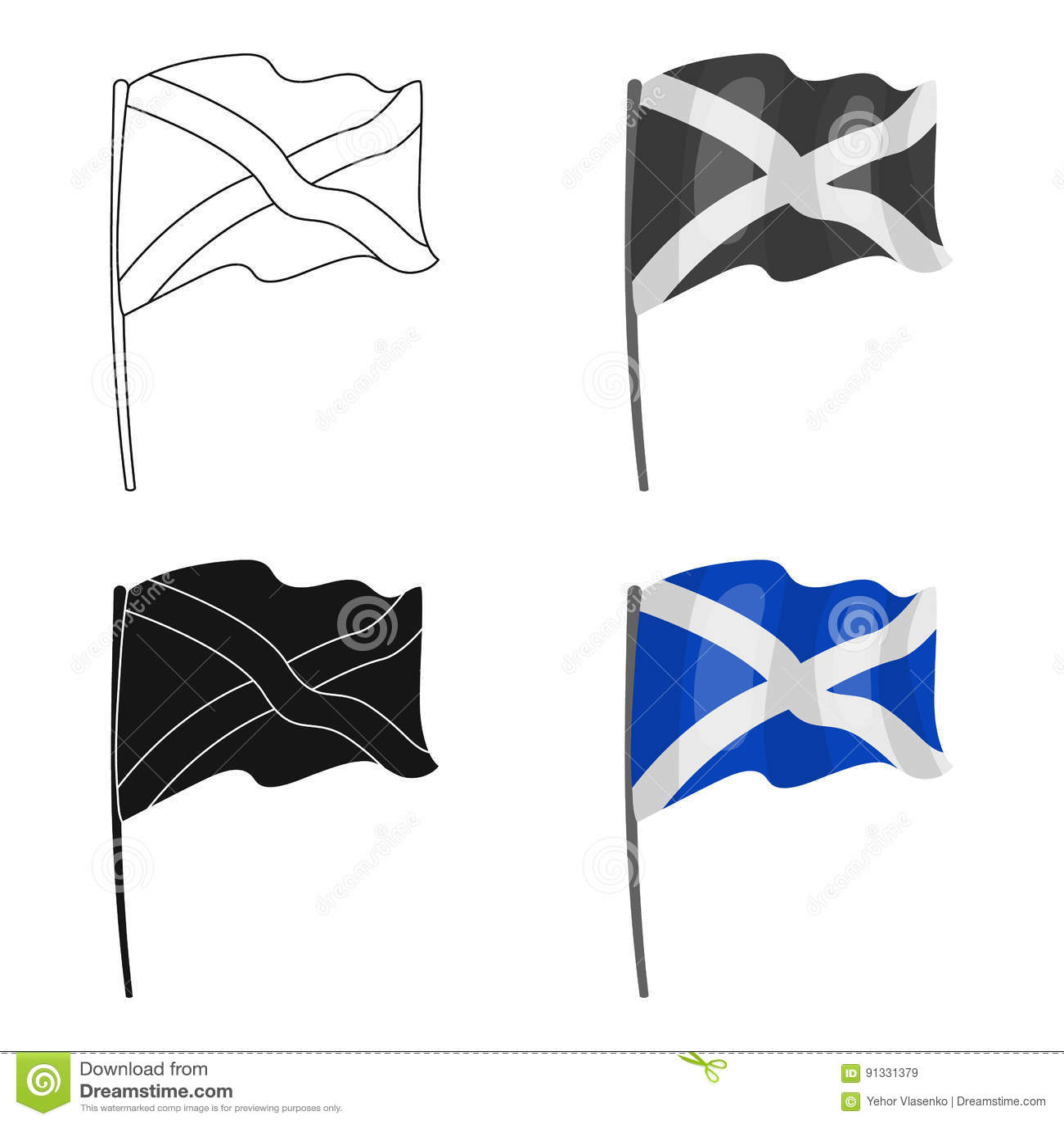 Σημαία του εικονιδίου της Σκωτίας στο ύφος κινούμενων σχεδίων που απομονώνεται στο άσπρο υπόβαθρο Διανυσματική απεικόνιση αποθεμά