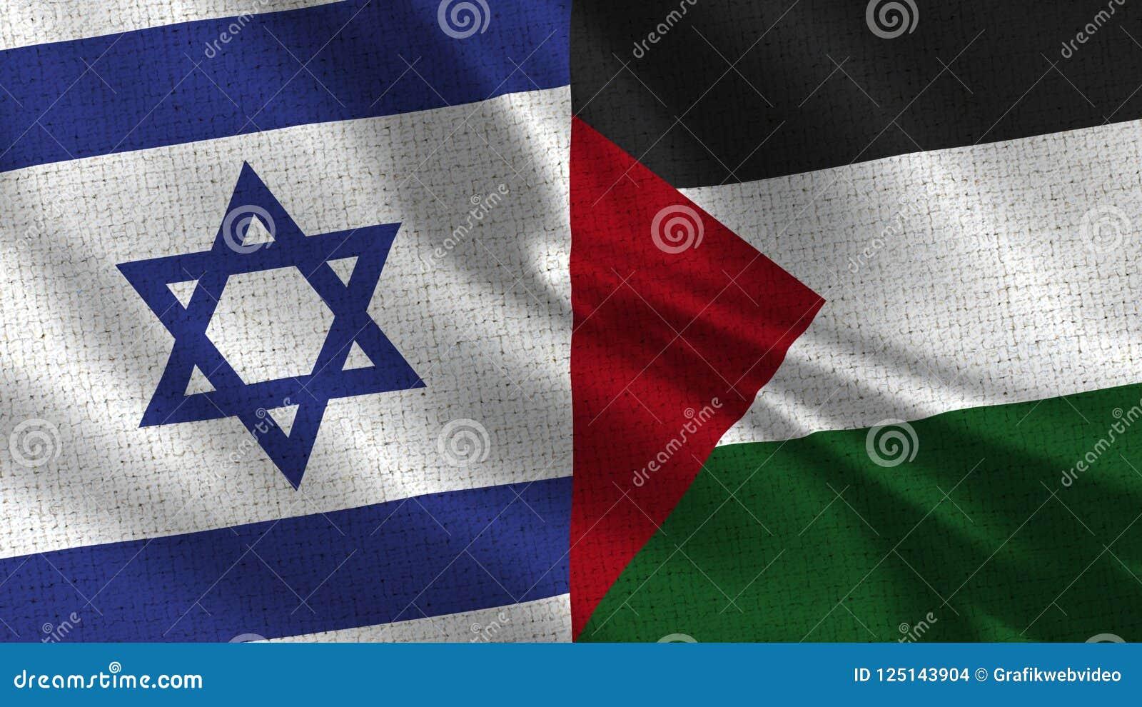 Σημαία του Ισραήλ και της Παλαιστίνης - δύο σημαίες από κοινού