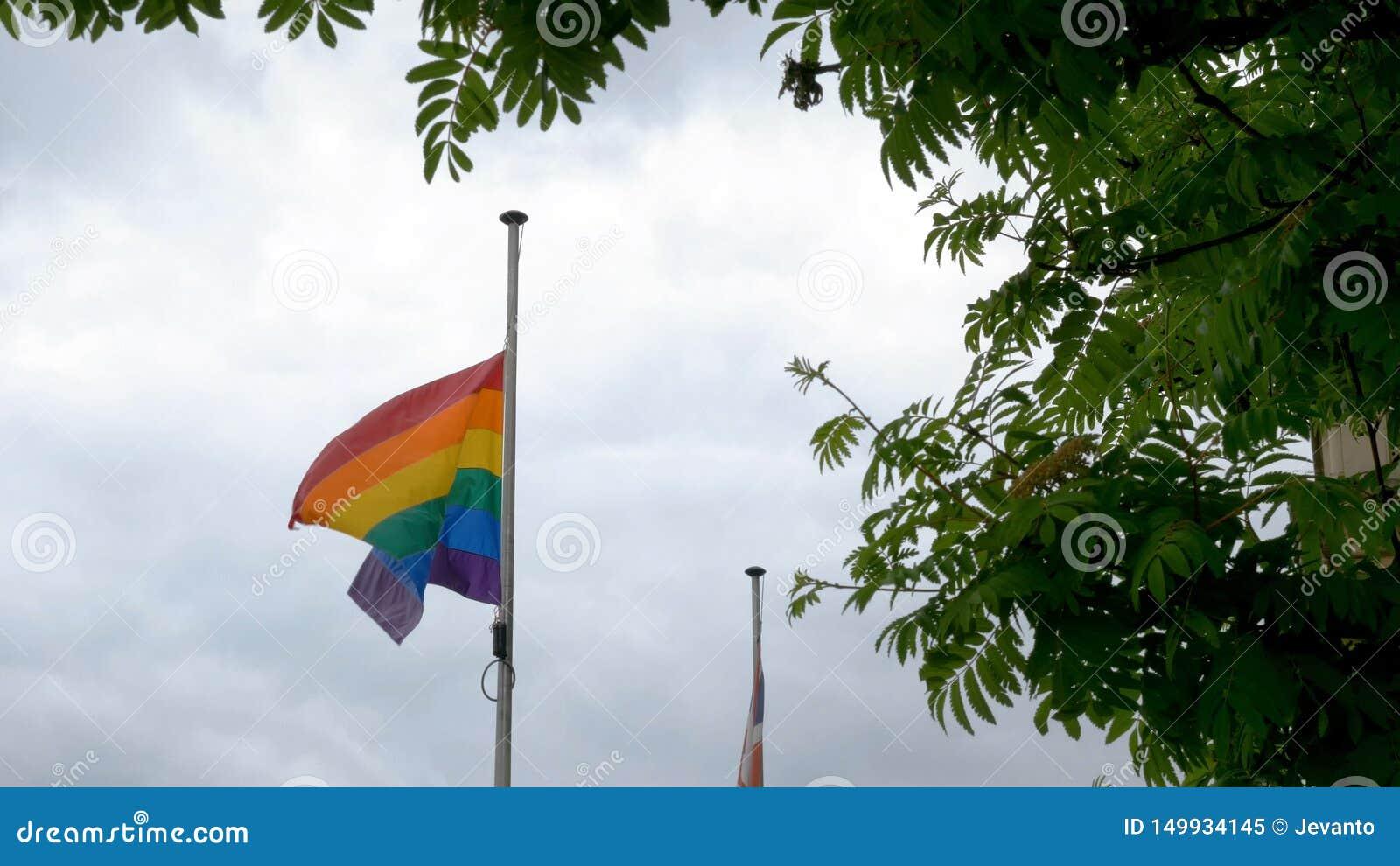 Σημαία υπερηφάνειας ουράνιων τόξων LGBT που κυματίζει στον αέρα στο νεφελώδες βρετανικό υπόβαθρο ουρανού στην Αγγλία του Νόρθαμπτ