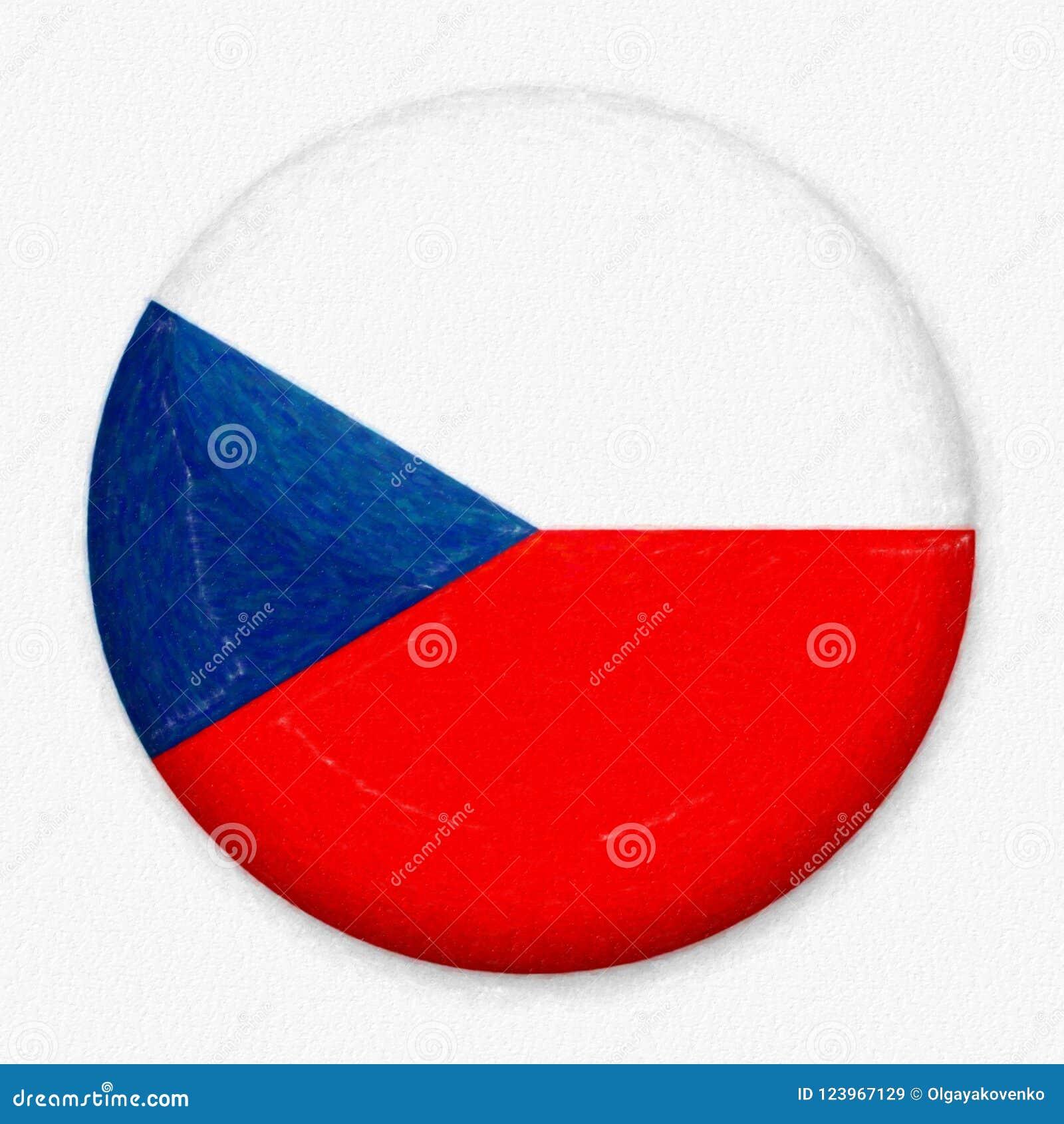 Σημαία Watercolor των τσέχικων υπό μορφή στρογγυλού κουμπιού