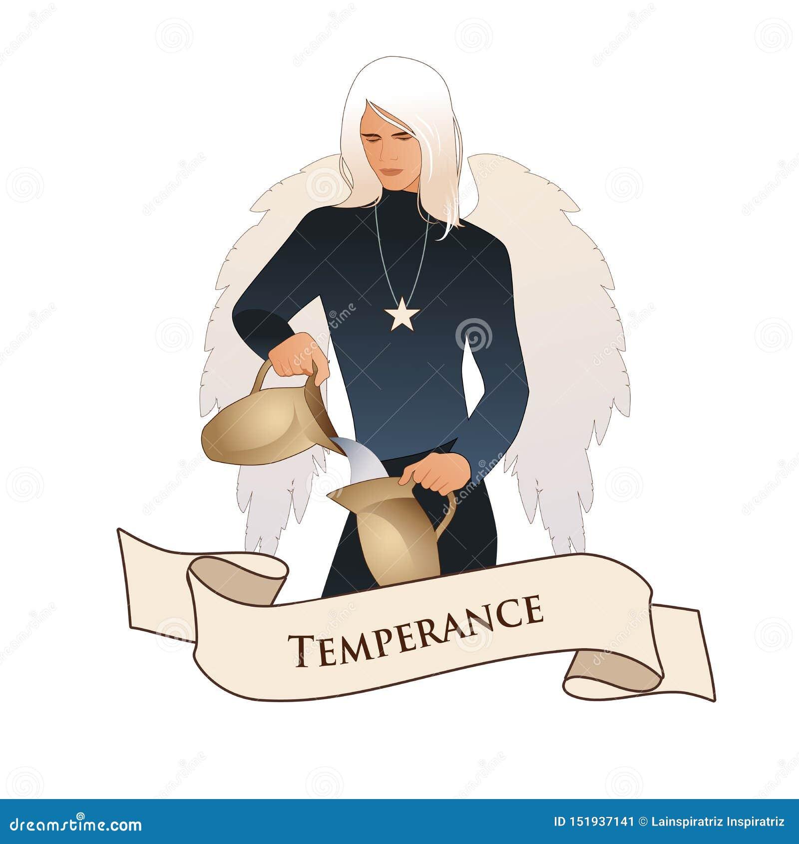 Σημαντική κάρτα Tarot εμβλημάτων Arcana Μετριοπάθεια Άγγελος με την εμφάνιση και τα ενδύματα του νεαρού άνδρα, μεγάλα φτερά, δίκα