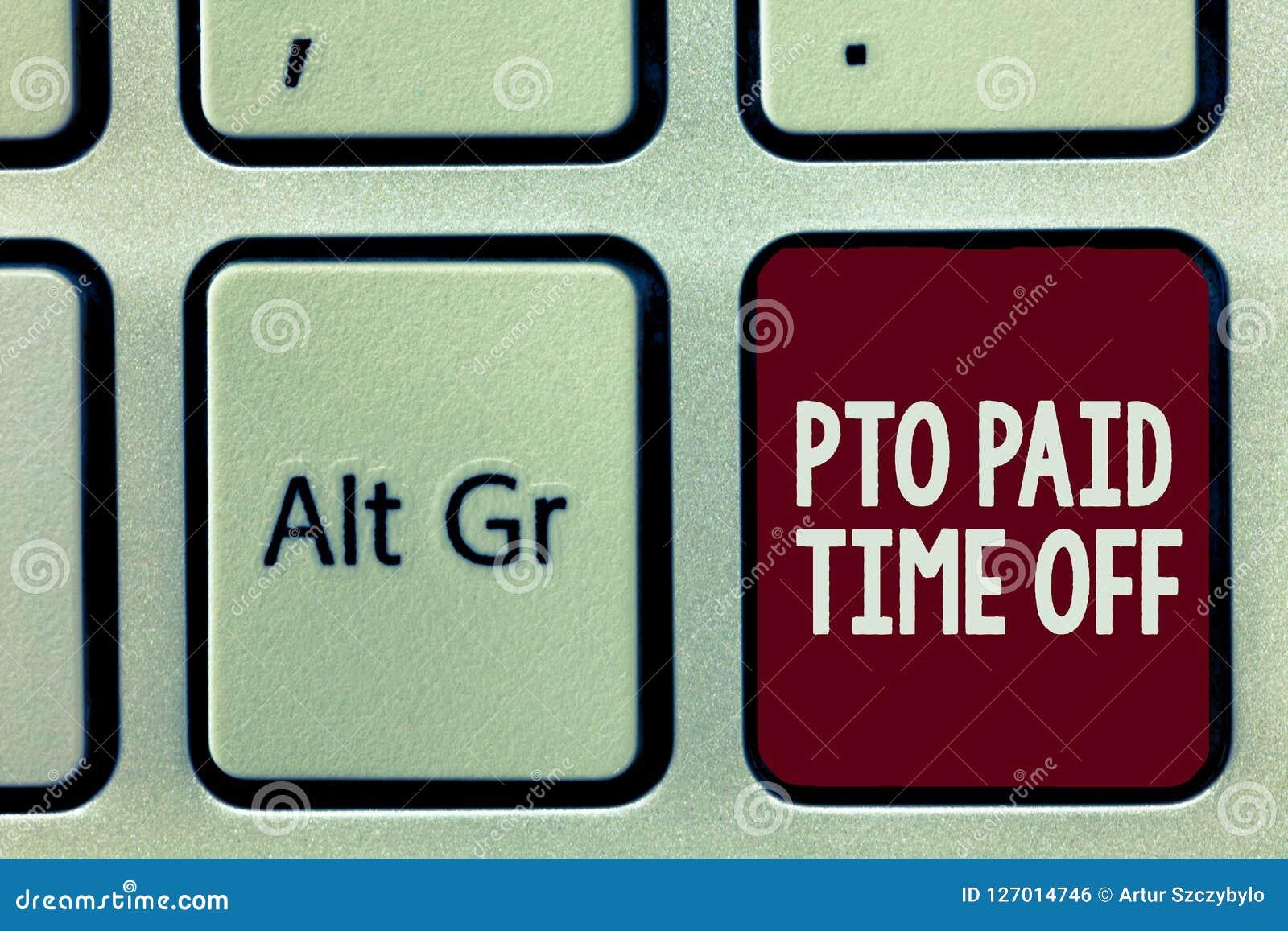 Σημείωση γραψίματος που παρουσιάζει πληρωμένο Pto χρόνο μακριά Αποζημίωση επιχορηγήσεων εργοδοτών επίδειξης επιχειρησιακών φωτογρ