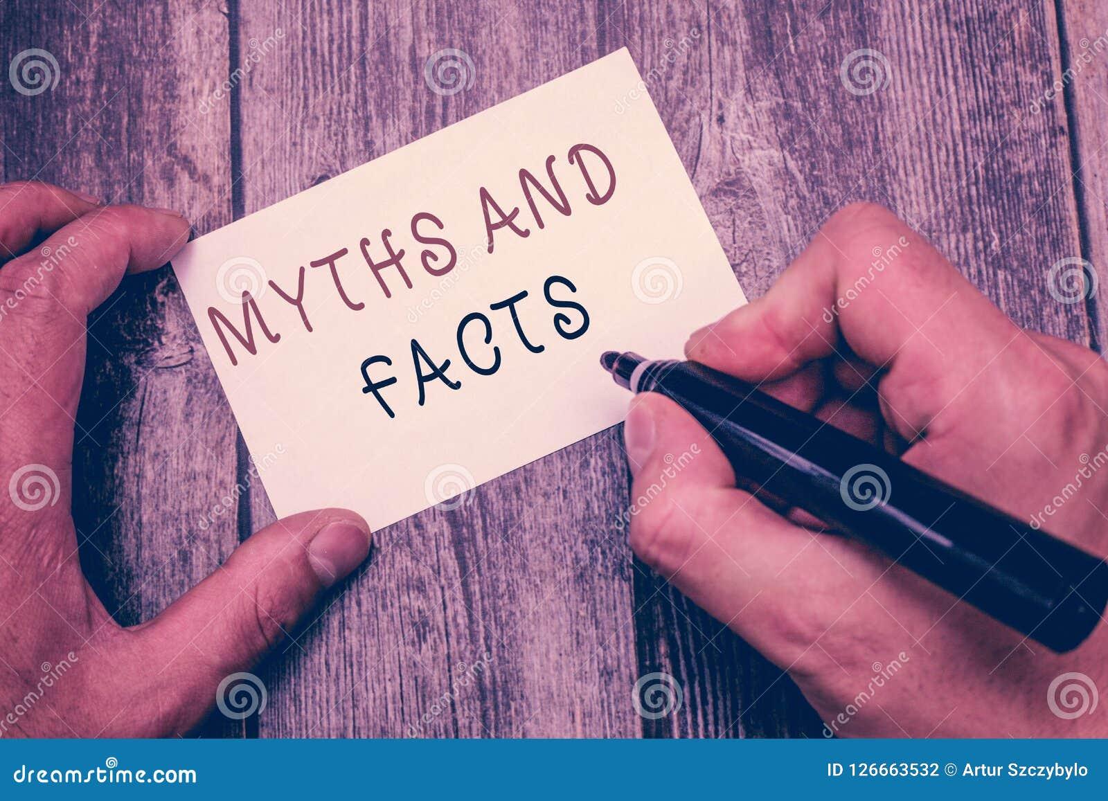 Σημείωση γραψίματος που παρουσιάζει τους μύθους και γεγονότα Επιχειρησιακή φωτογραφία που επιδεικνύει τη Oppositive έννοια για τη