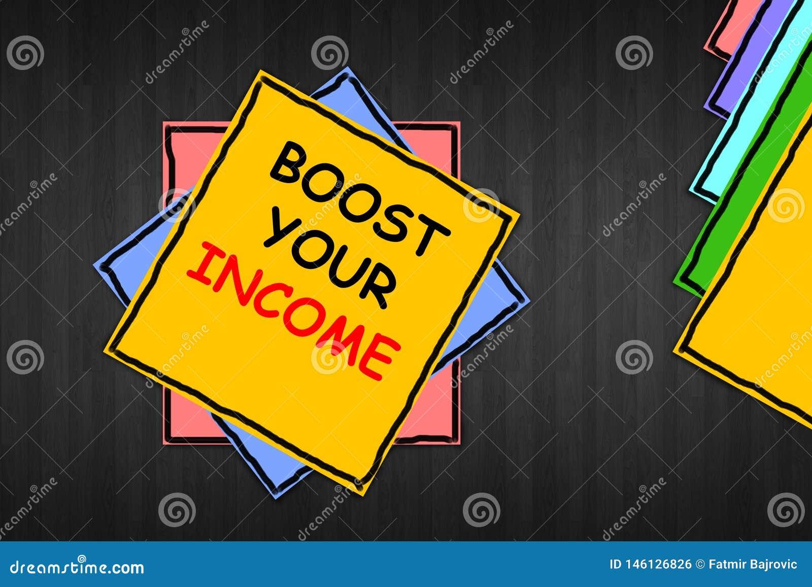 """Σημείωση γραψίματος που παρουσιάζει """"στην ώθηση εισόδημά σας """" Η επίδειξη επιχειρησιακών φωτογραφιών βελτιώνει την πληρωμή σας πο"""