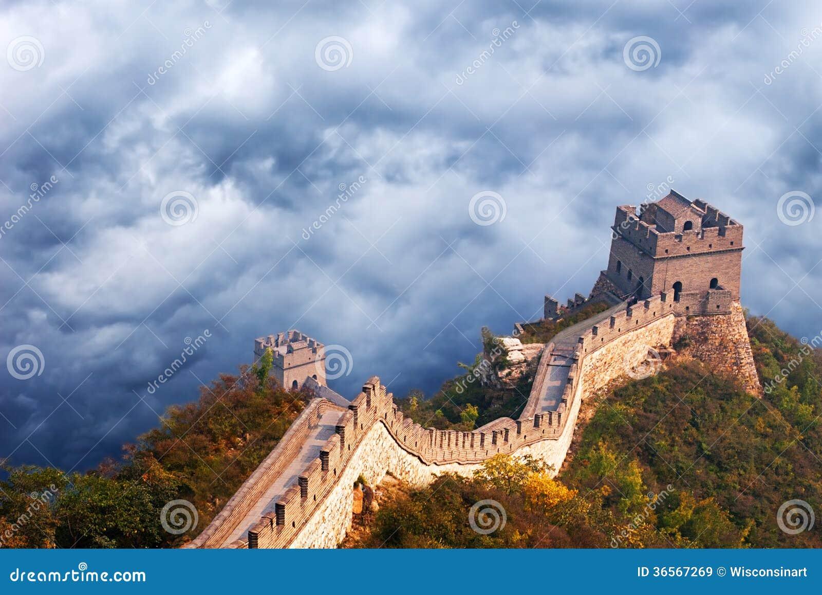 Σινικό Τείχος του ταξιδιού της Κίνας, θυελλώδη σύννεφα ουρανού
