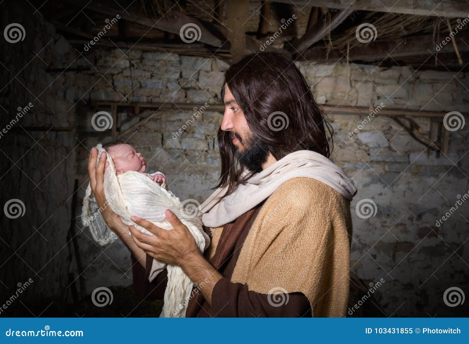 Σιταποθήκη Nativity με το Joseph και το μωρό Ιησούς