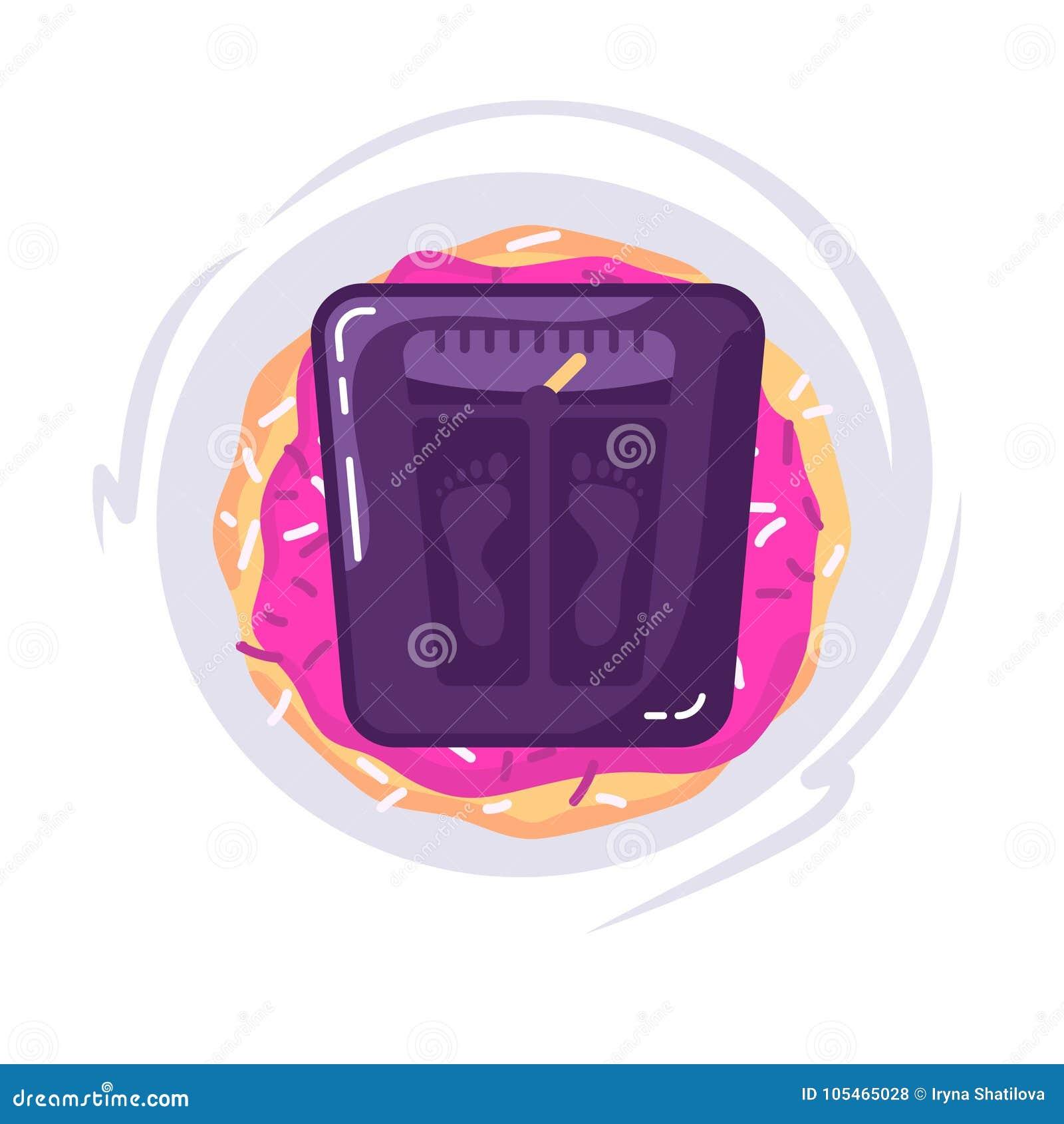 σιτηρέσιο έννοιας Τρόφιμα με την κλίμακα για μια ζυγίζοντας μηχανή Doughnut και κλίμακες Διανυσματική έννοια background