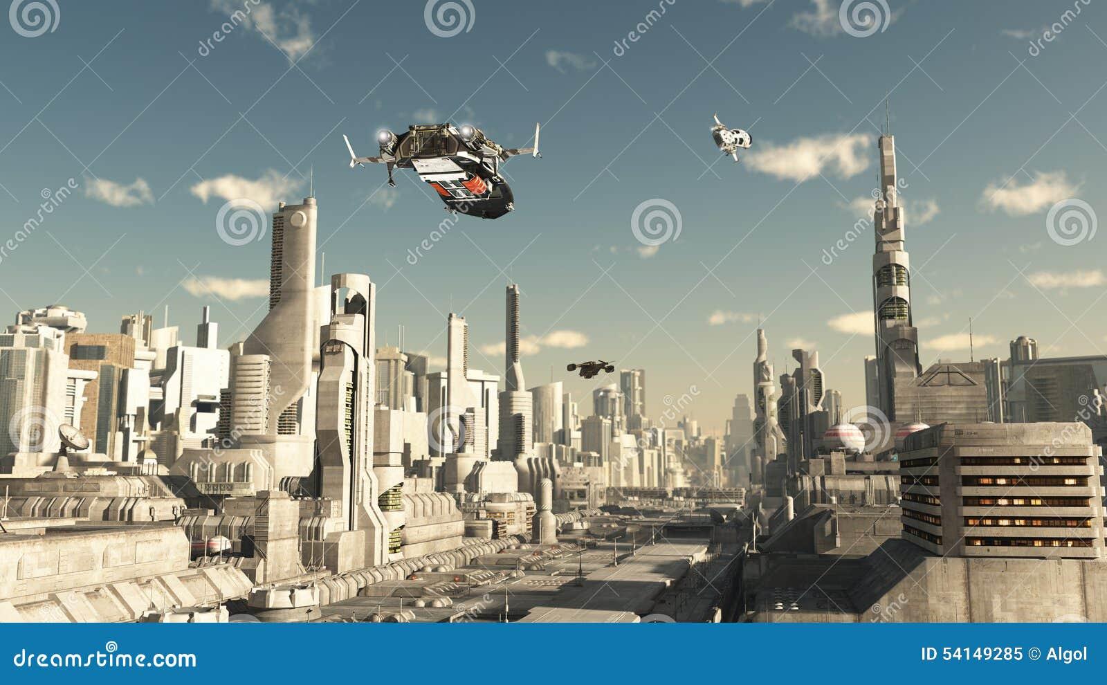 Σκάφος ανιχνεύσεων που προσγειώνεται σε μια μελλοντική πόλη