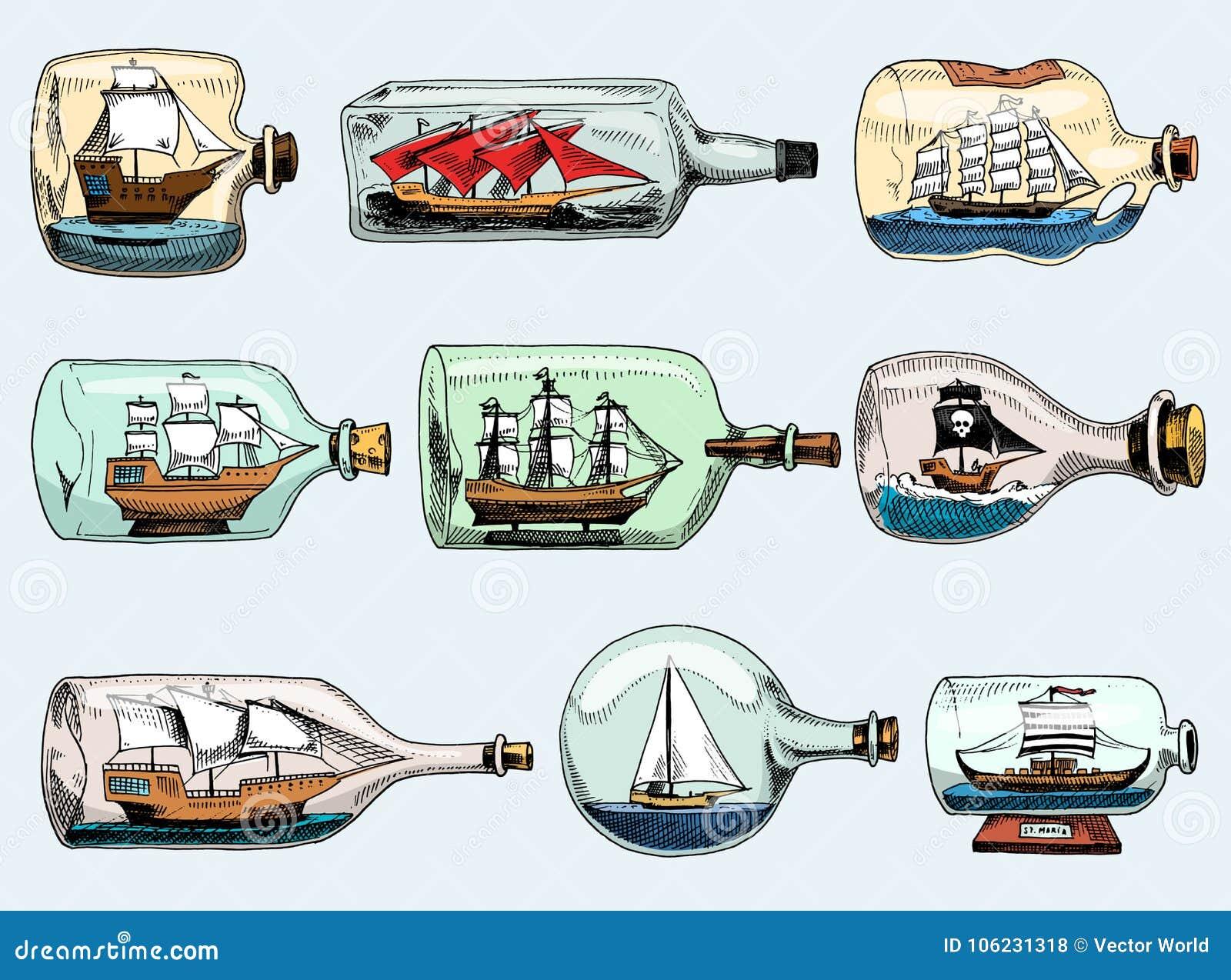 Σκάφος στη διανυσματική βάρκα μπουκαλιών στο μικροσκοπικό ταλαντούχο πανί