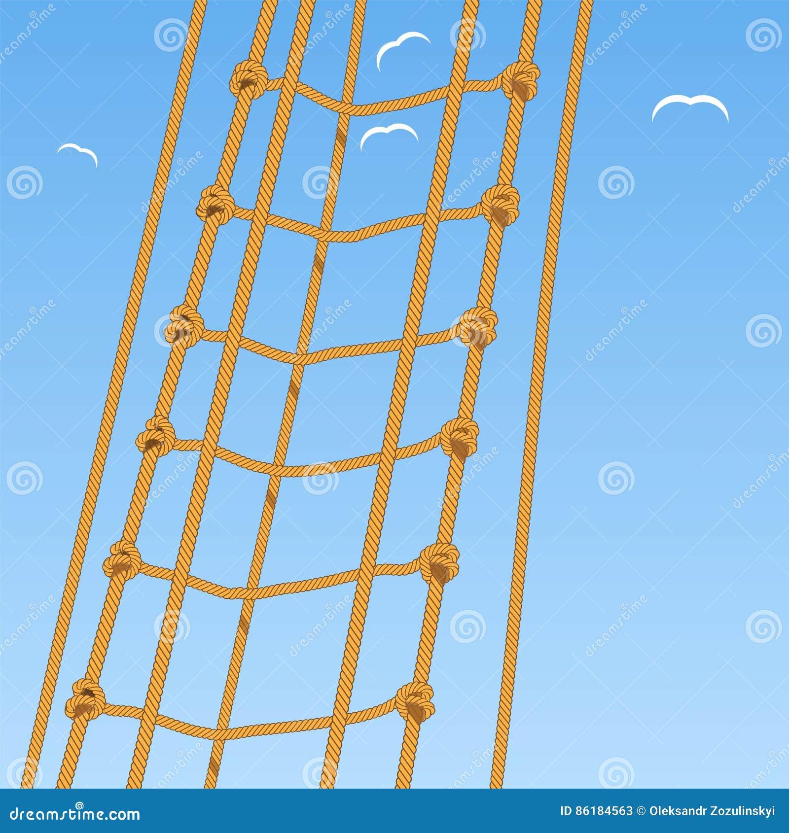 Σκάλα σχοινιών Σχοινί Κόμβος και seagulls σκοπέλων