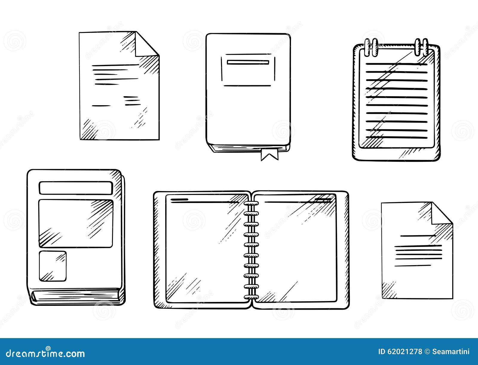 Σκίτσα βιβλίων, σημειωματάριων, σημειωματάριων και ημερολογίων
