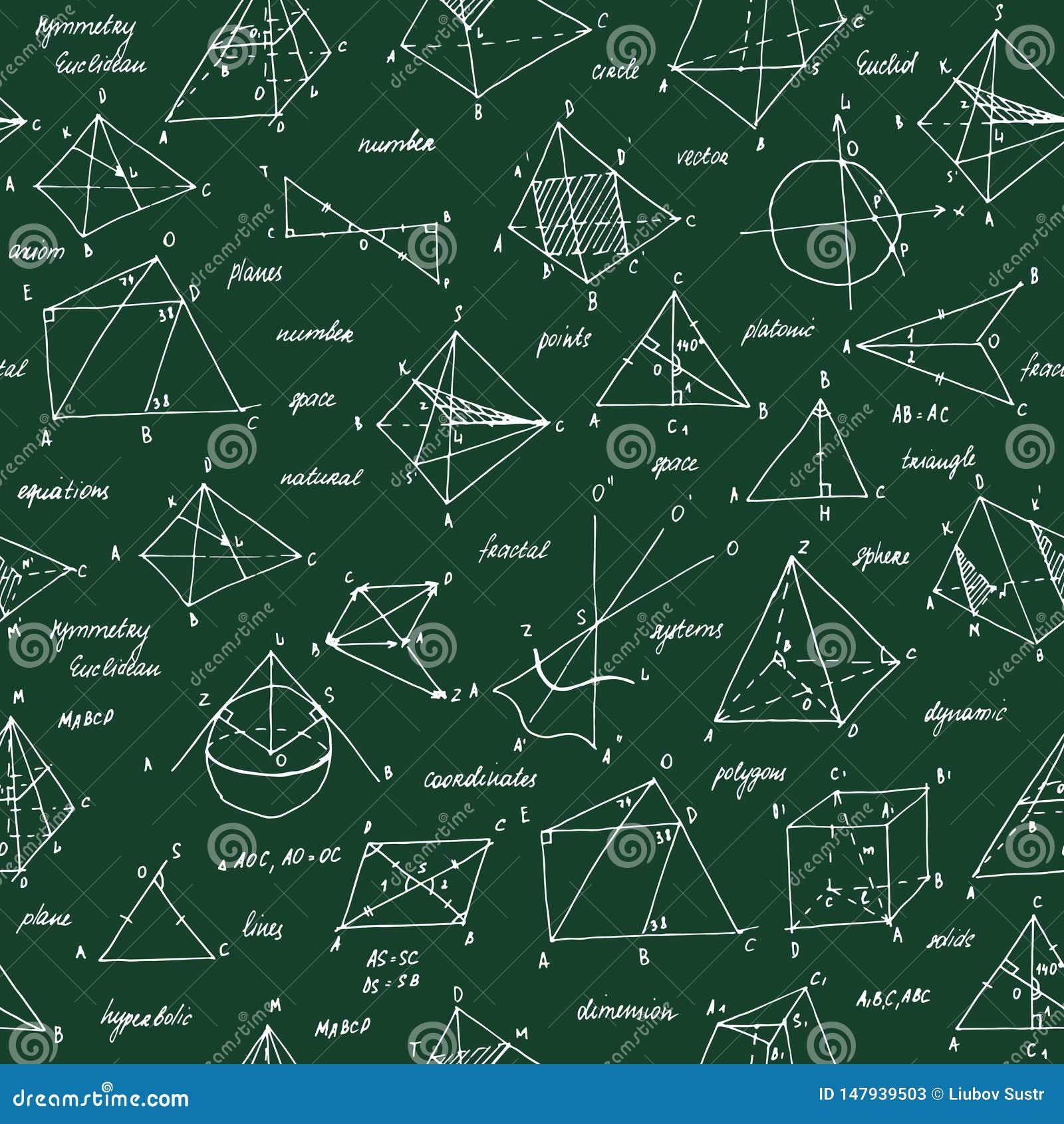 Σκίτσο γεωμετρίας Άνευ ραφής σύσταση Σχολικός πίνακας με τα σκίτσα και τα γεωμετρικά στοιχεία
