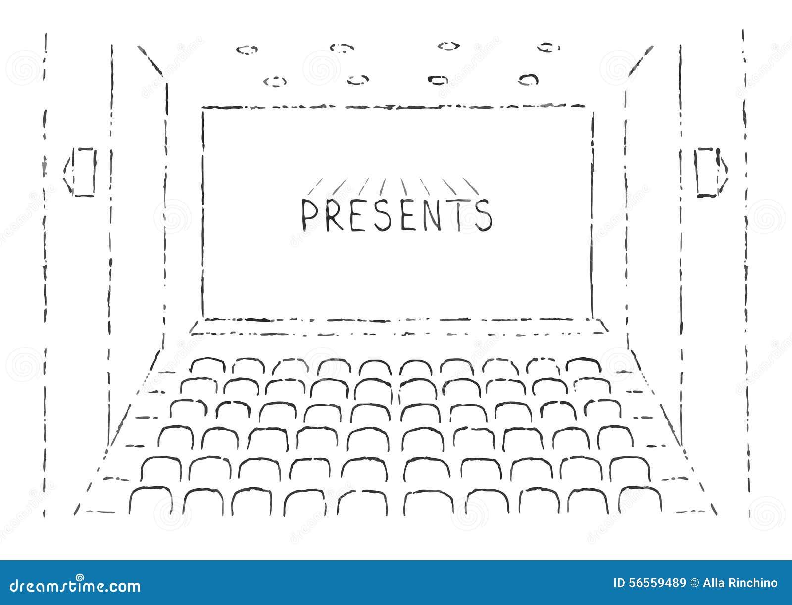 Download Σκίτσο της αίθουσας κινηματογράφων Διανυσματική απεικόνιση - εικονογραφία από απεικόνιση, backfill: 56559489