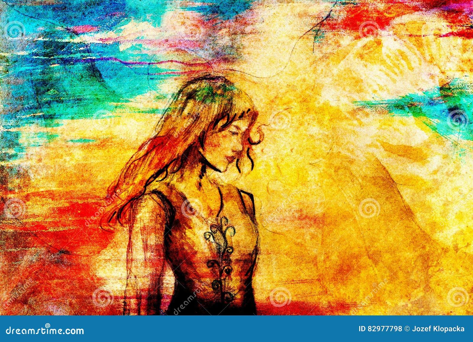Σκίτσο της μυστικής γυναίκας στο όμορφο διακοσμητικό φόρεμα που εμπνέεται  από το σχέδιο Μεσαίωνα 375911f9e45