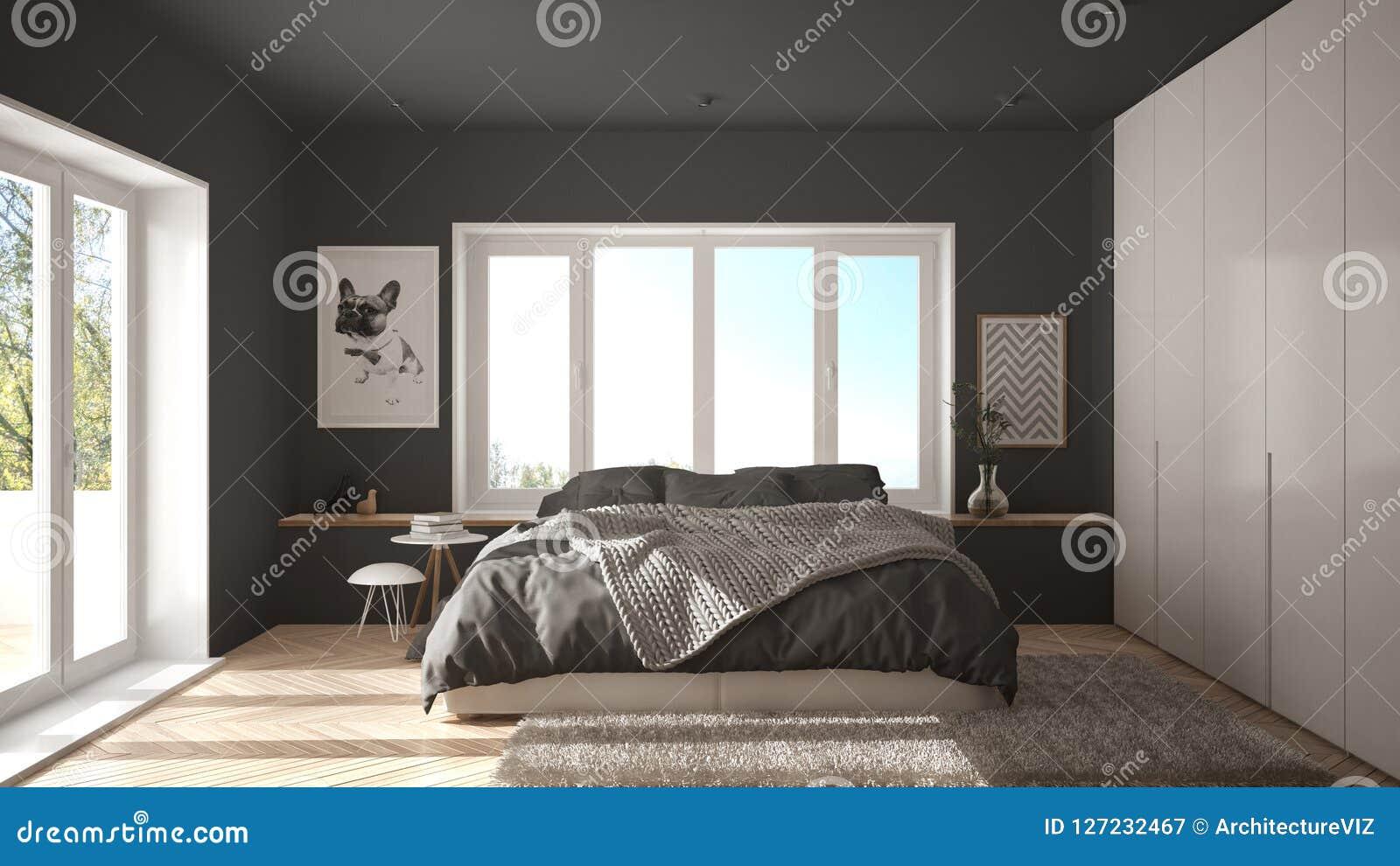 Σκανδιναβική άσπρη και γκρίζα μινιμαλιστική κρεβατοκάμαρα με το πανοραμικό παράθυρο, τον τάπητα γουνών και το παρκέ ψαροκόκκαλων,