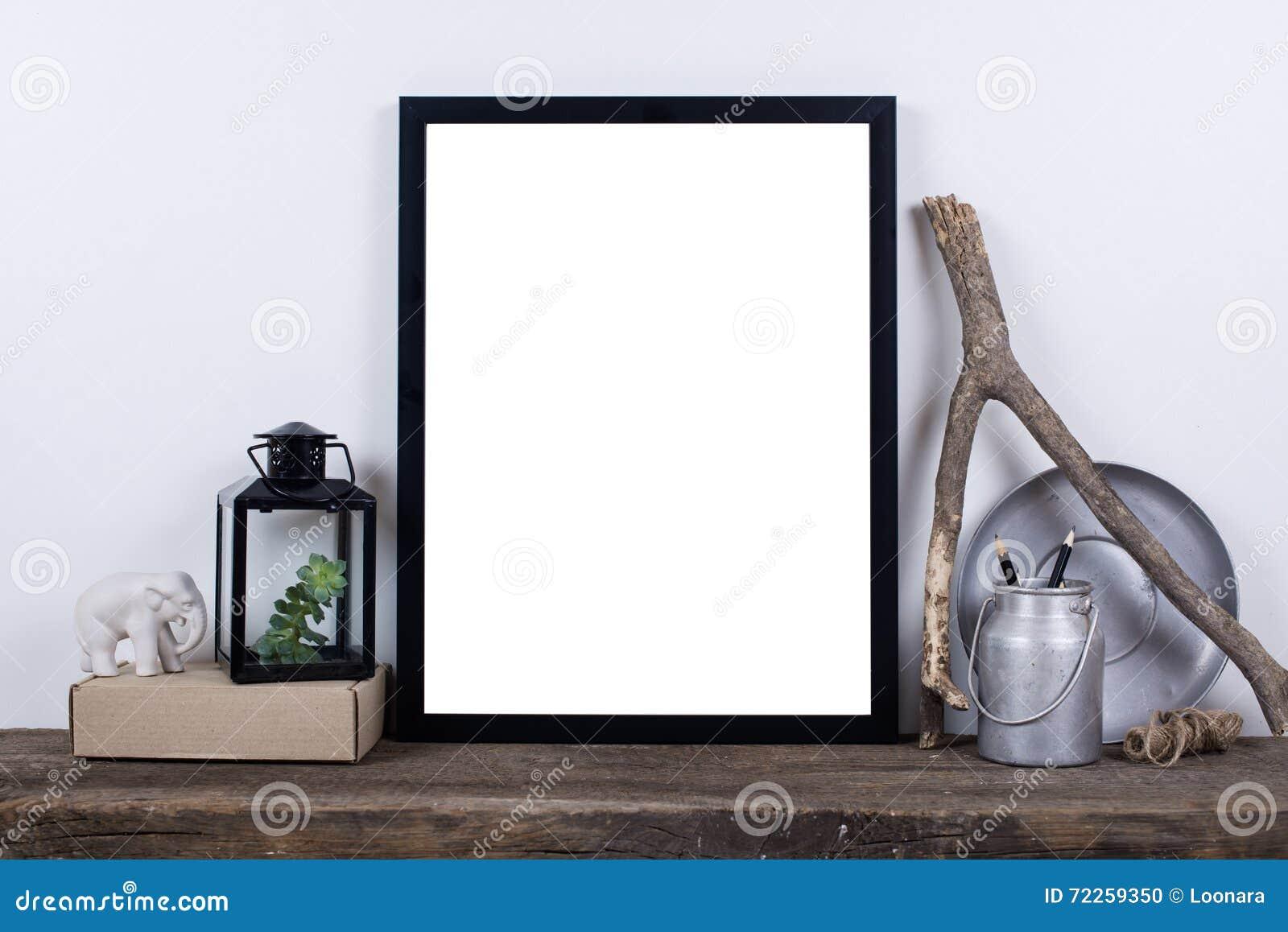 Σκανδιναβική χλεύη πλαισίων φωτογραφιών ύφους κενή επάνω Ελάχιστο εγχώριο ντεκόρ