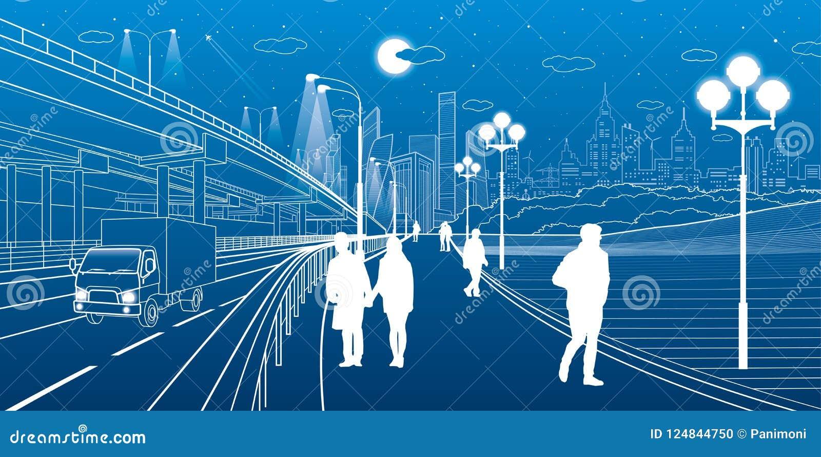 σκηνή αστική Ανταλλαγή αυτοκινήτων Οι άνθρωποι περπατούν κατά μήκος του πεζοδρομίου Σύγχρονη πόλη νύχτας στο υπόβαθρο Διανυσματικ