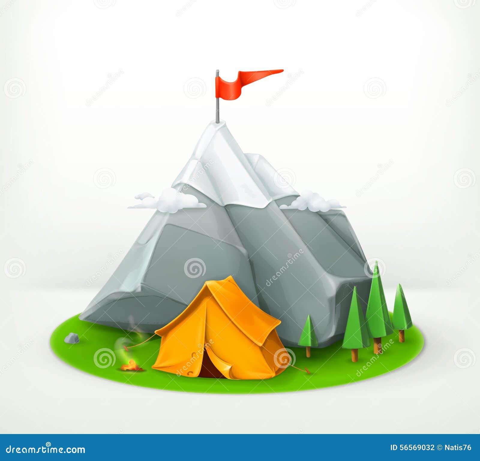 Download Σκηνή και βουνό στρατοπέδευσης Διανυσματική απεικόνιση - εικονογραφία από επιφυλακτικότητας, πεζοπορία: 56569032