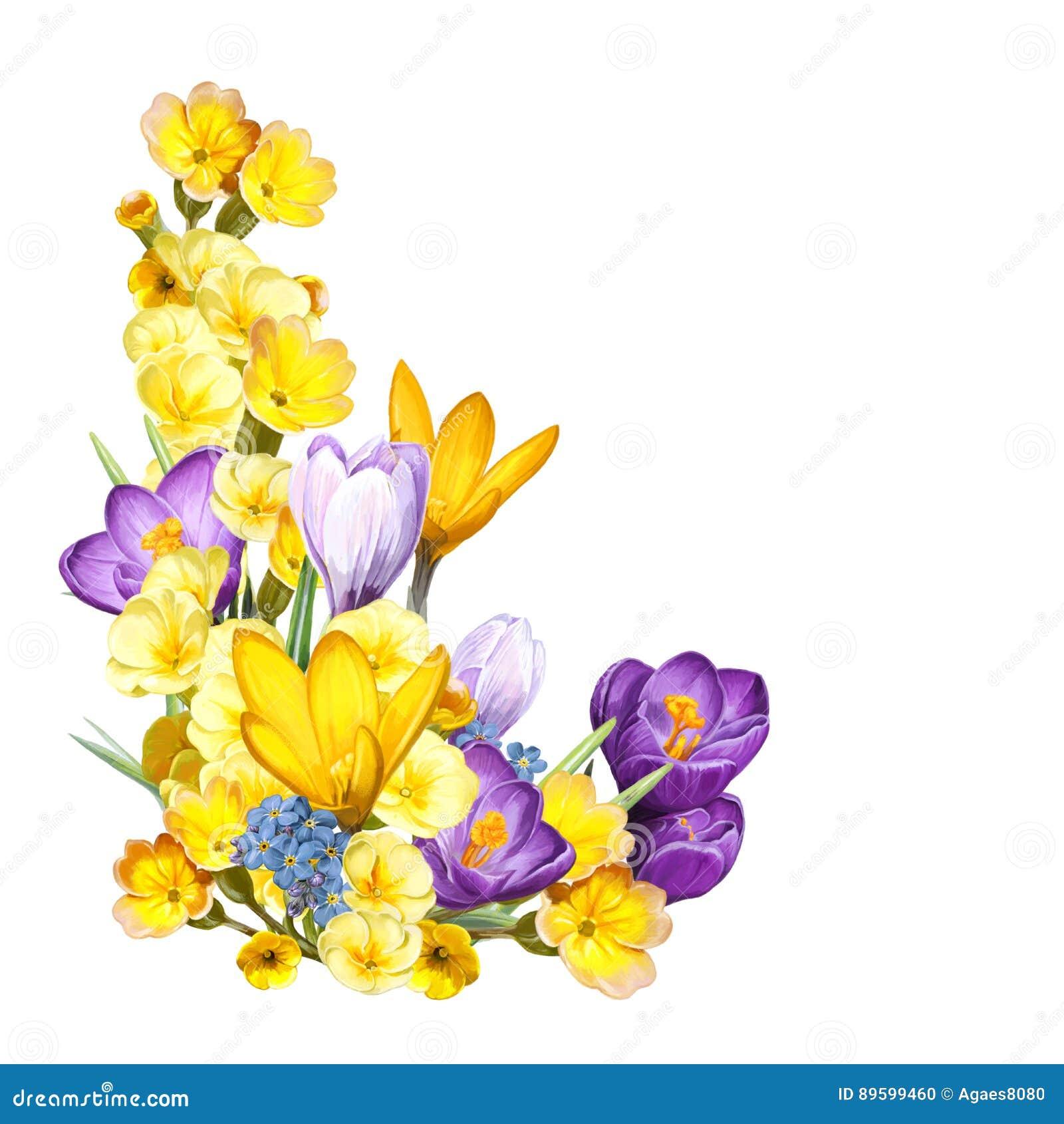 Σκηνή κινούμενων σχεδίων με τα όμορφα και ζωηρόχρωμα λουλούδια στο άσπρο υπόβαθρο
