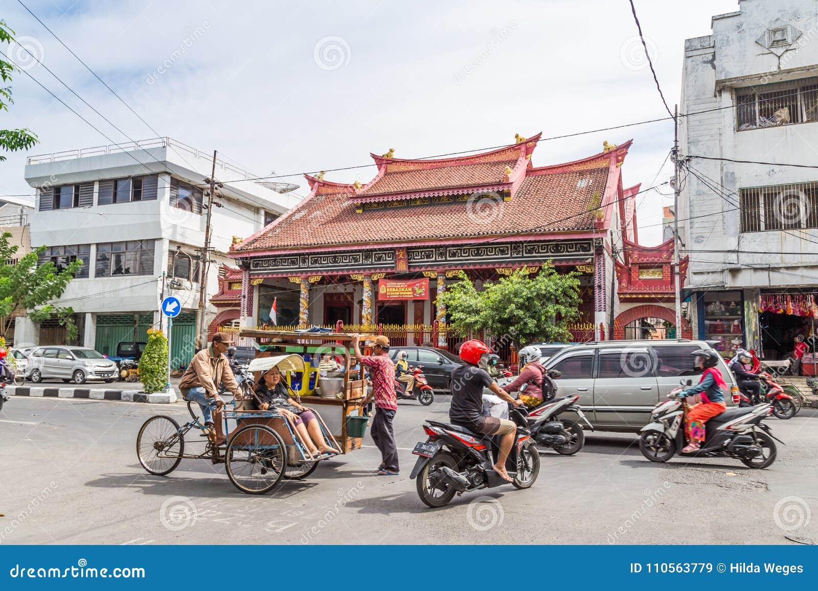 Σκηνή οδών στο Surabaya Ινδονησία