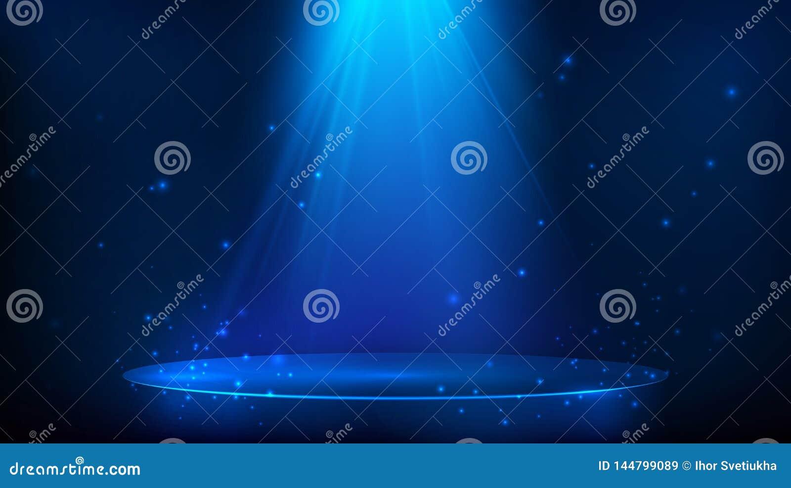Σκηνή που φωτίζεται με το μπλε φως Μαγικό υπόβαθρο κομμάτων r