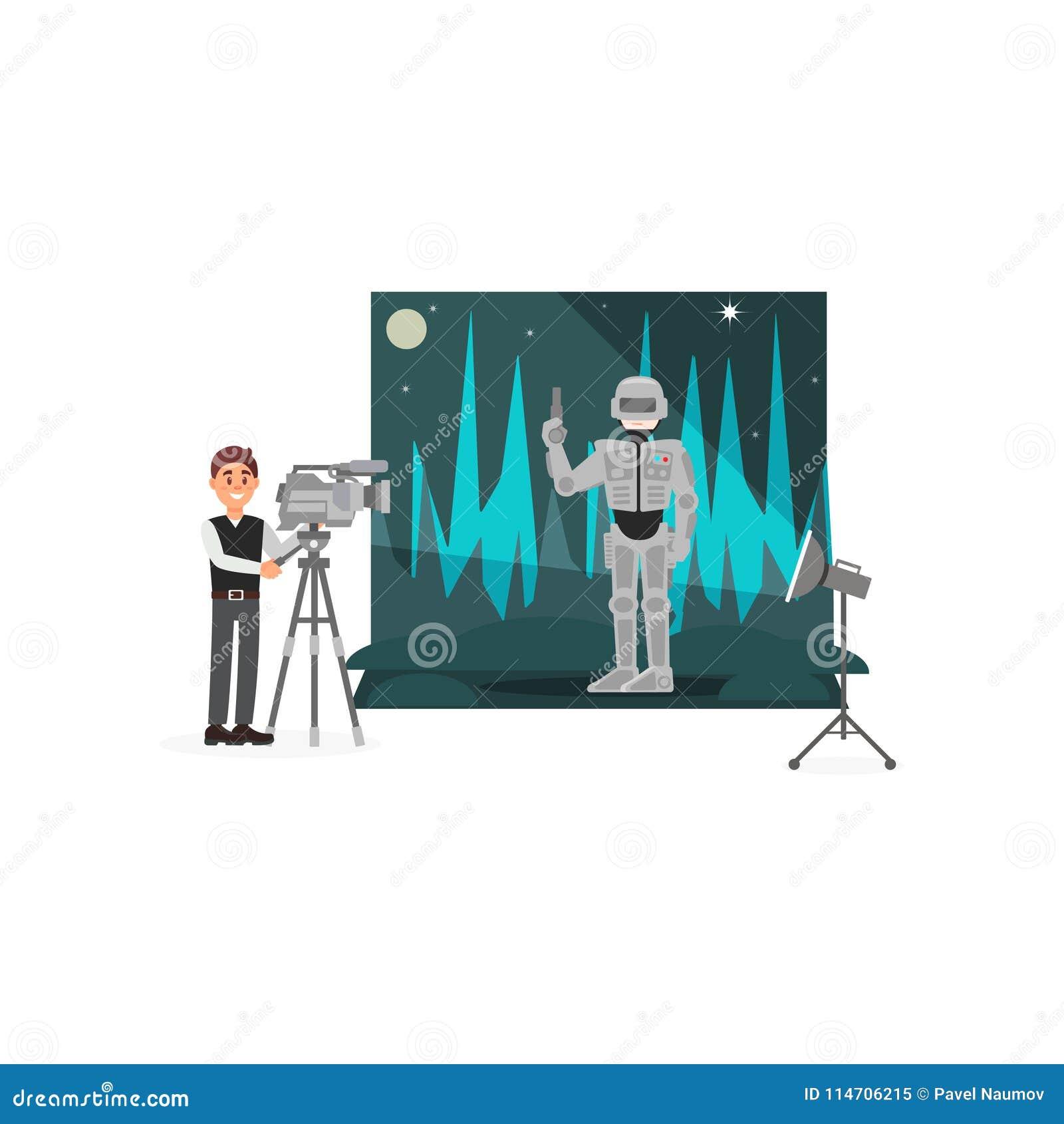 Σκηνή πυροβολισμού χειριστών κινηματογράφων με τον αστροναύτη, βιομηχανία διασκέδασης, κινηματογράφος που κάνει τη διανυσματική α